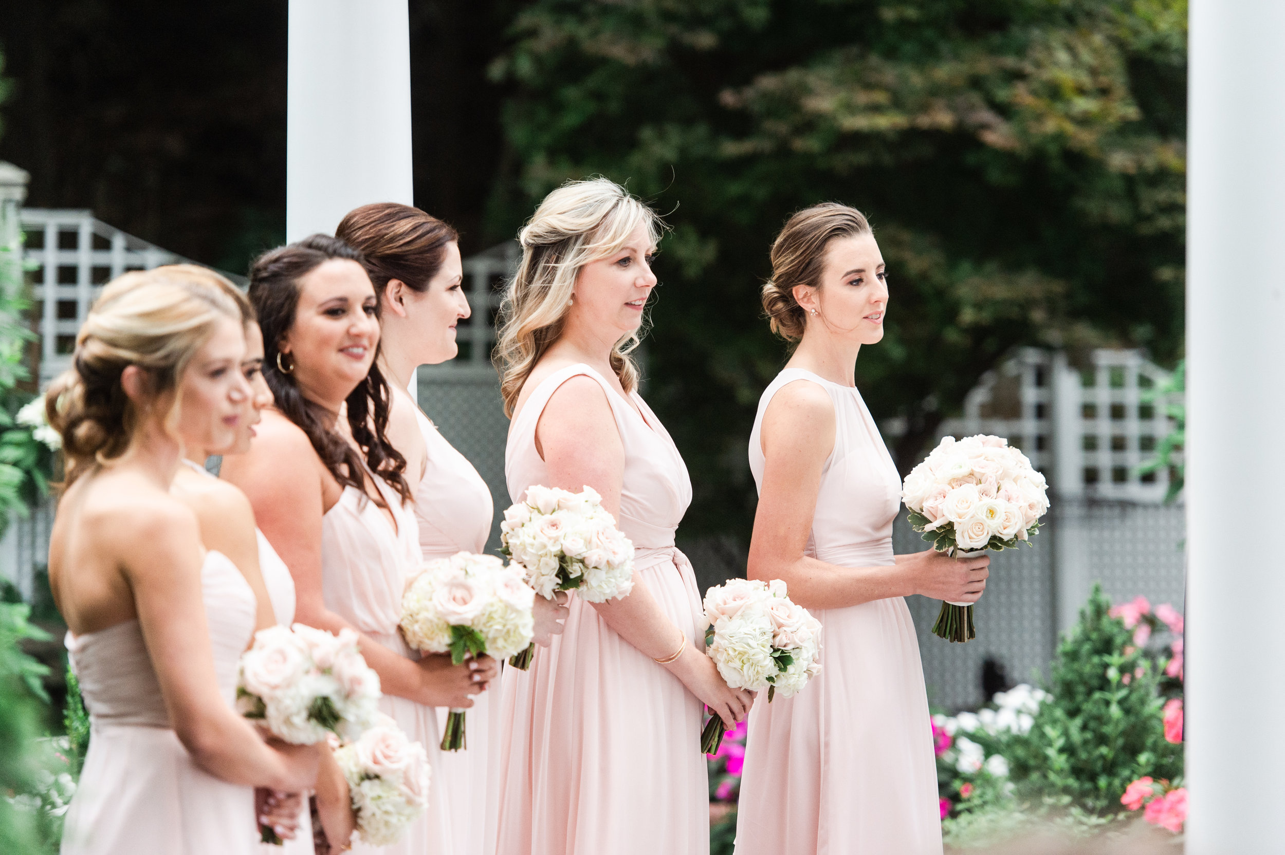 The Commons 1854 Topsfield MA wedding | Massachusetts wedding venue | Massachusetts wedding photography | First look | North Shore MA Wedding photos | outdoor ceremony | bridesmaids blush gowns