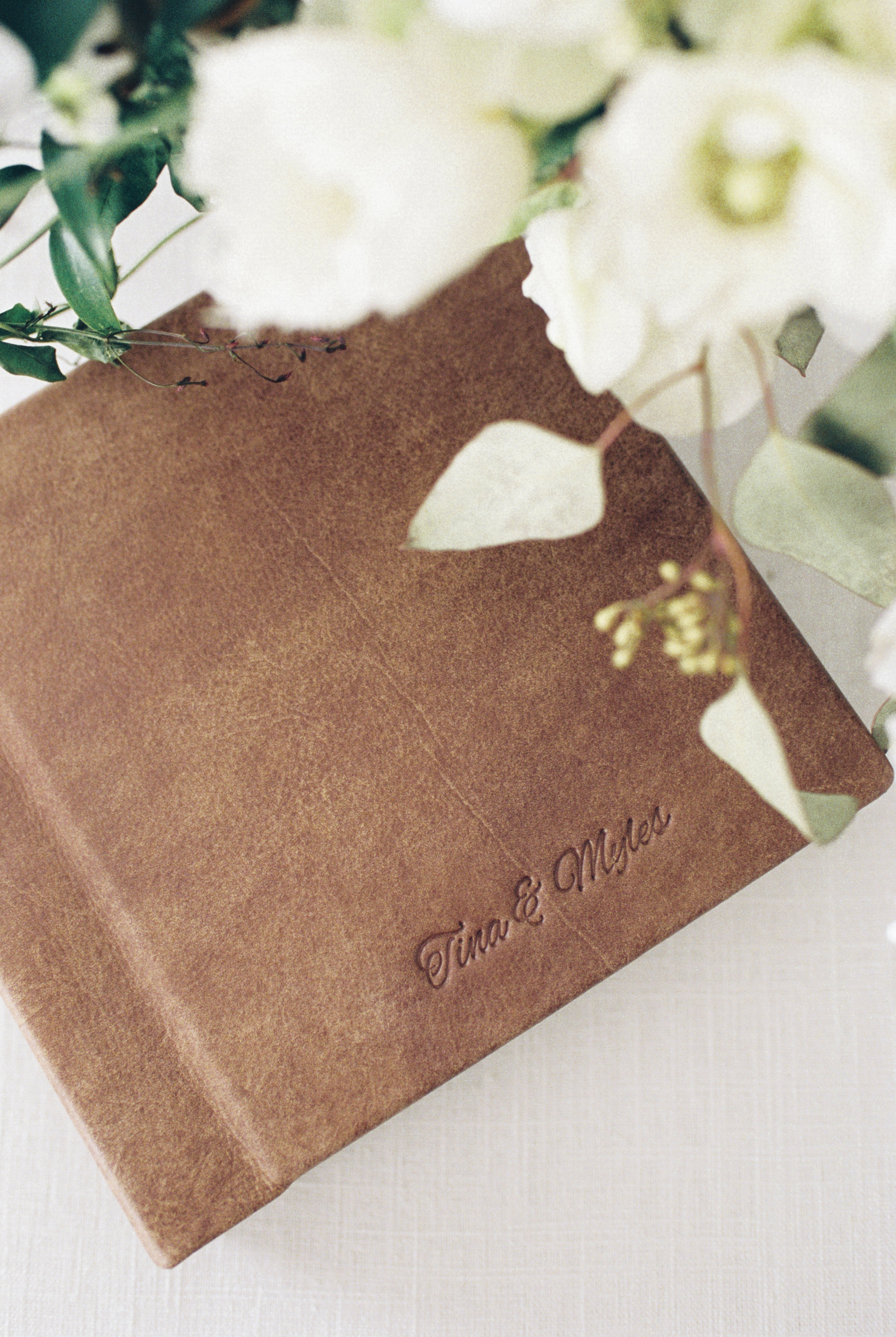 Boston Wedding Photographer Lynne Reznick Photography Heirloom Leather Wedding Album with Embossing