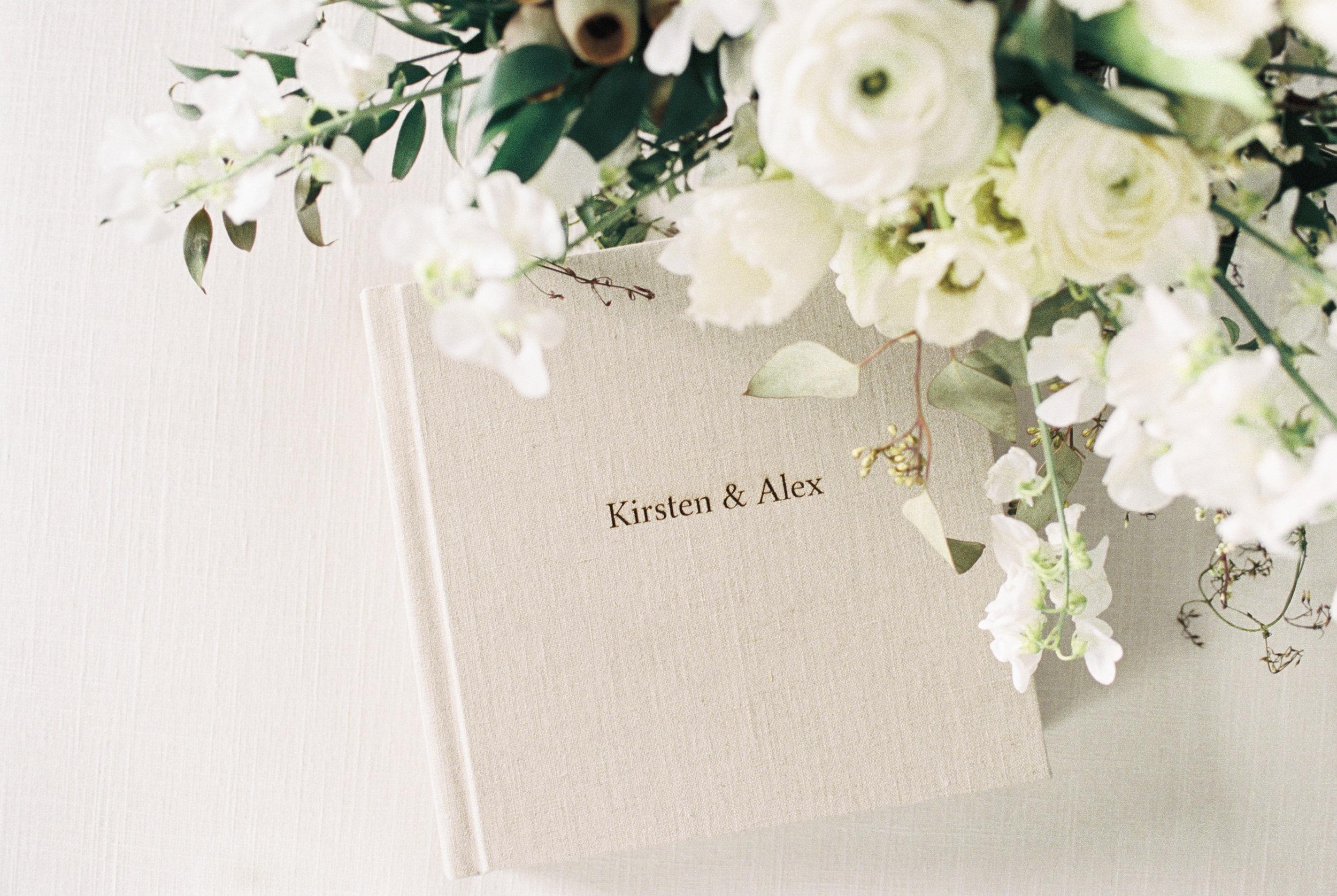Boston Wedding Photographer Lynne Reznick Photography Heirloom Linen Wedding Album with Engraving
