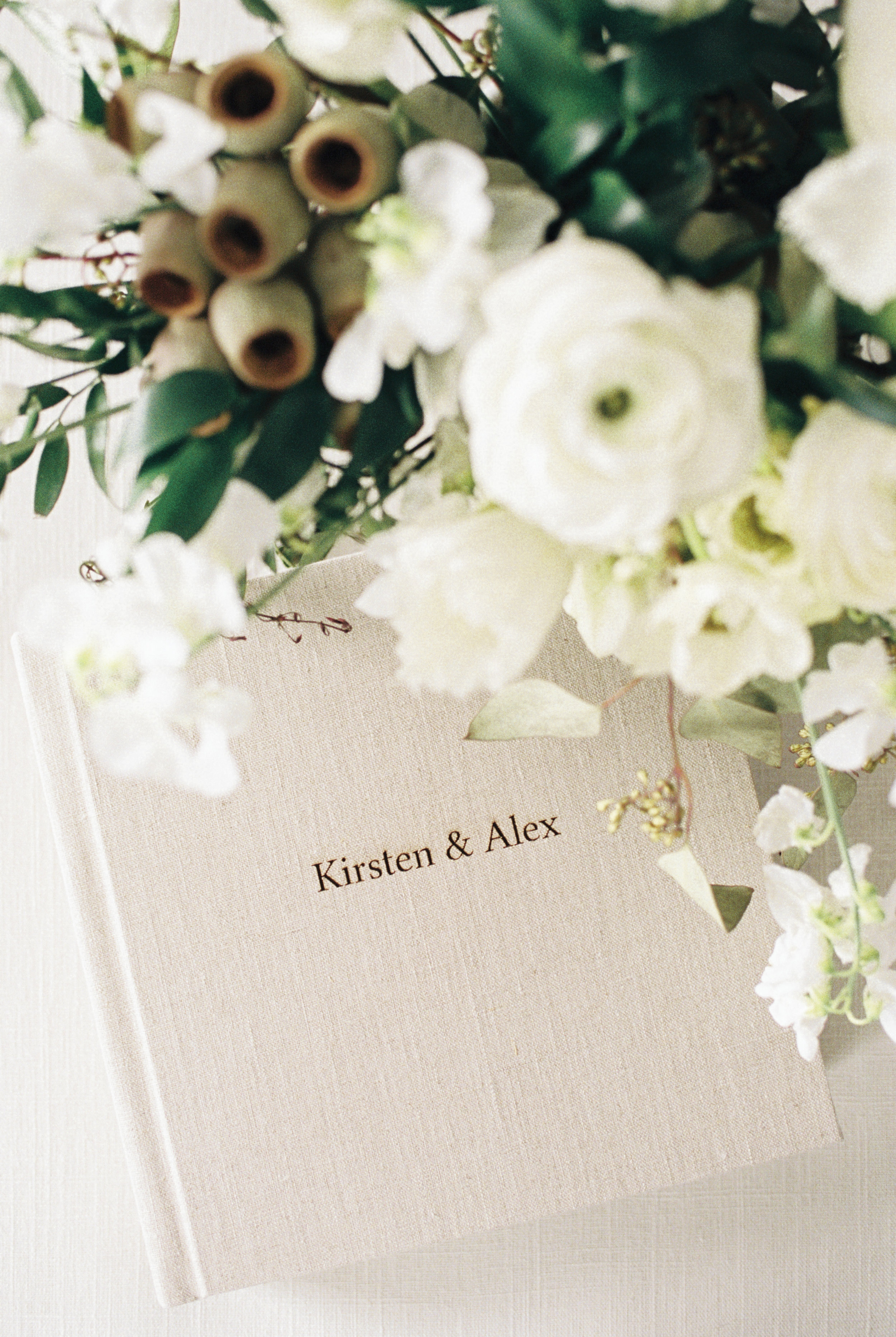 Boston Wedding Photographer Lynne Reznick Photography Heirloom Linen Wedding Album with Engraving