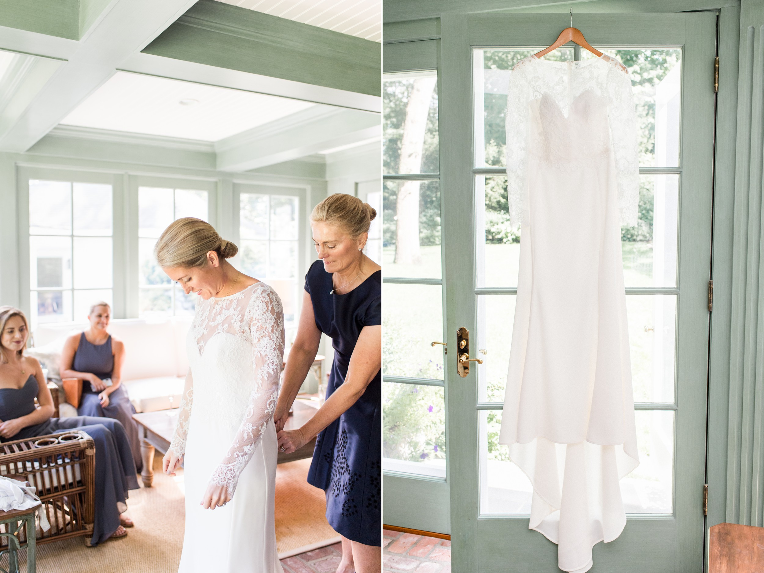 Wee Burn Beach Club Wedding Darien CT bride getting ready with mom and twin sister in sun soaked room for fall wedding on shoreline in New England and Amsale lace long sleeve sheath wedding dress