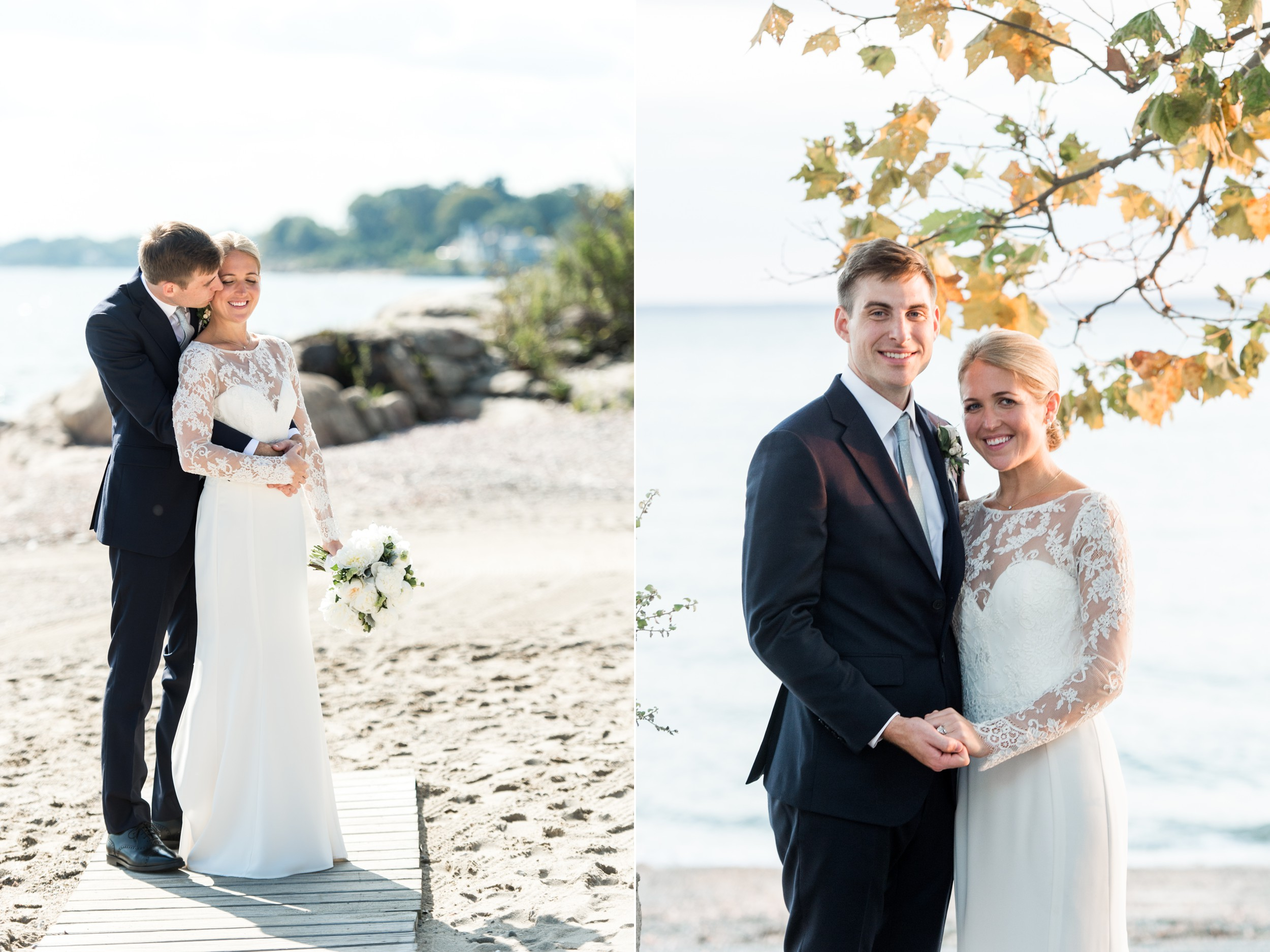 Wee Burn Beach Club Wedding Darien CT Bride and Groom Portraits on the Beach Lace Dress Navy Suit and White Florals