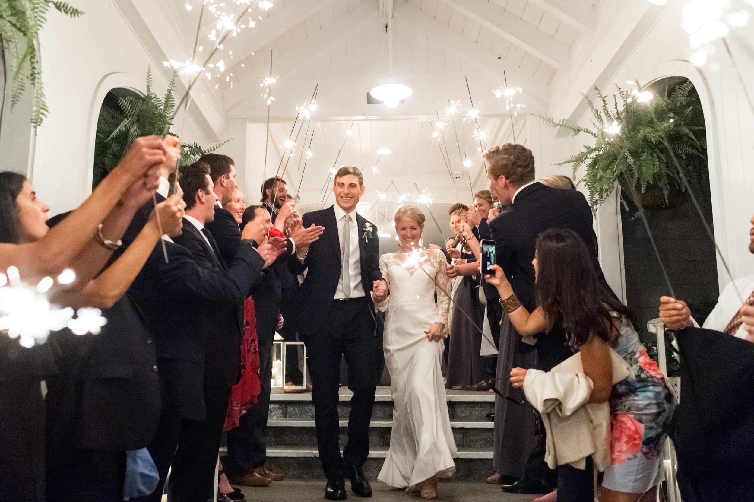 Wee Burn Beach Club Wedding Darien CT bride and groom sparkler exit