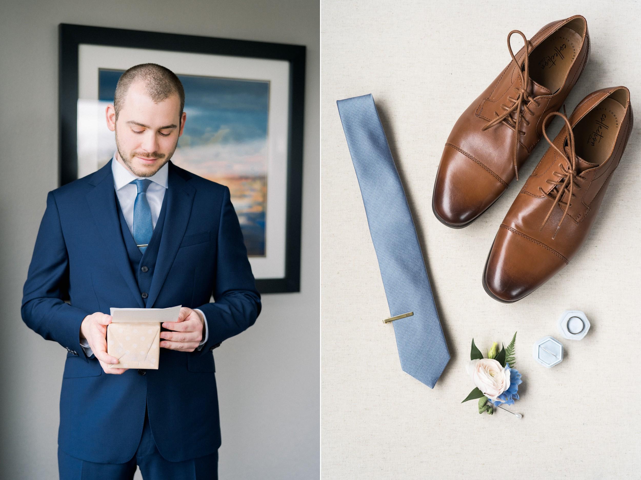 The Villa at Ridder Country Club Spring Wedding East Bridgewater MA groom getting ready