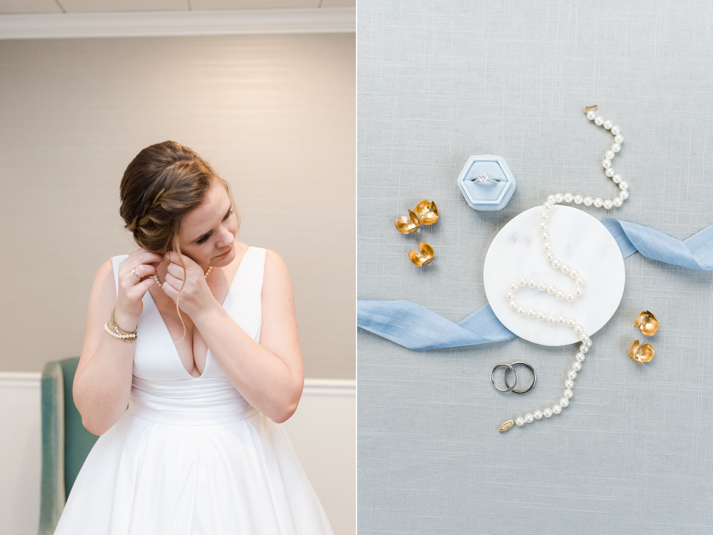 The Villa at Ridder Country Club Spring Wedding East Bridgewater MA bridal details flat lay pearl necklace and wedding rings