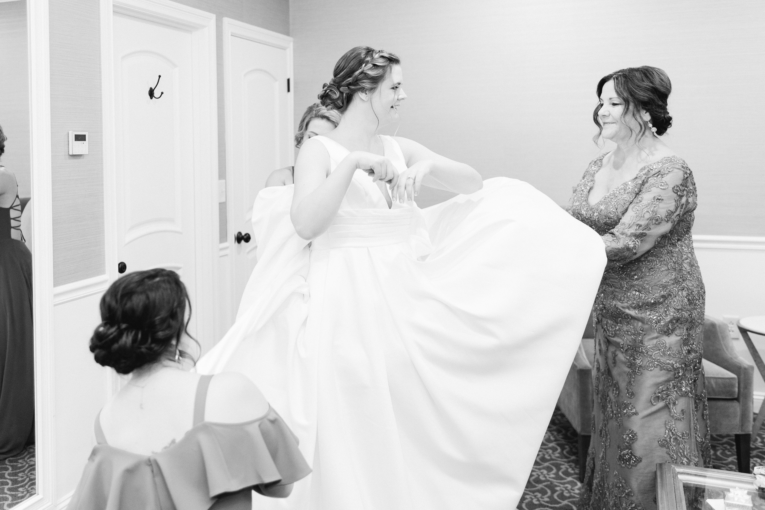 The Villa at Ridder Country Club Spring Wedding East Bridgewater MA bride getting ready black and white