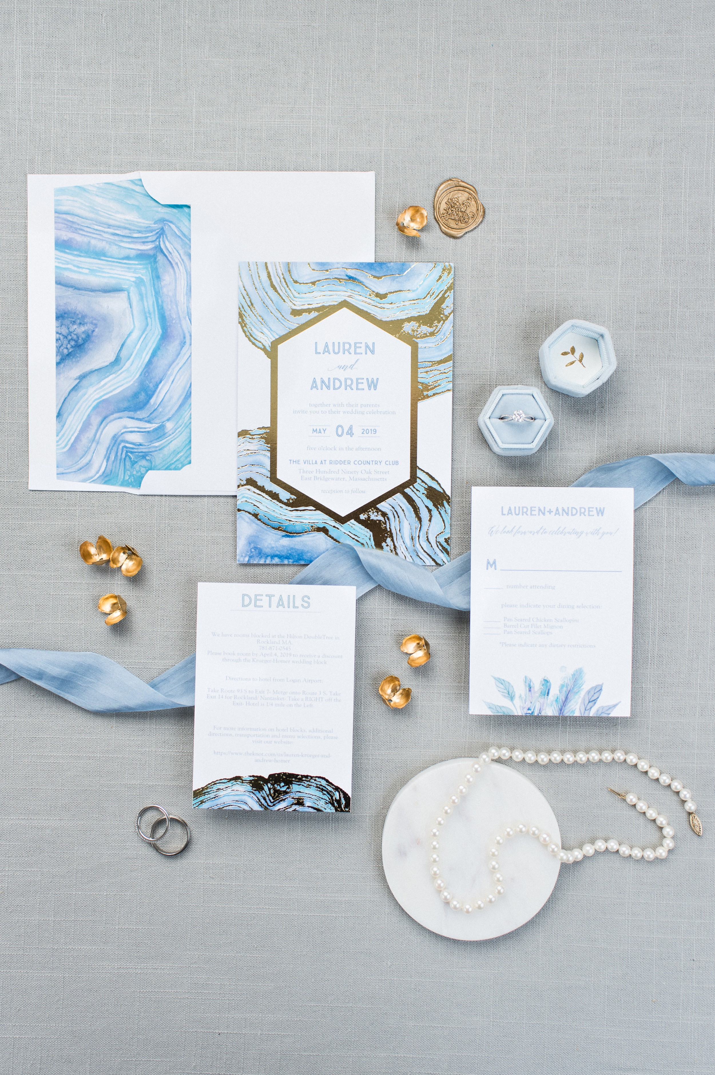 The Villa at Ridder Country Club Spring Wedding East Bridgewater MA bridal details flat lay blue modern invitation suite