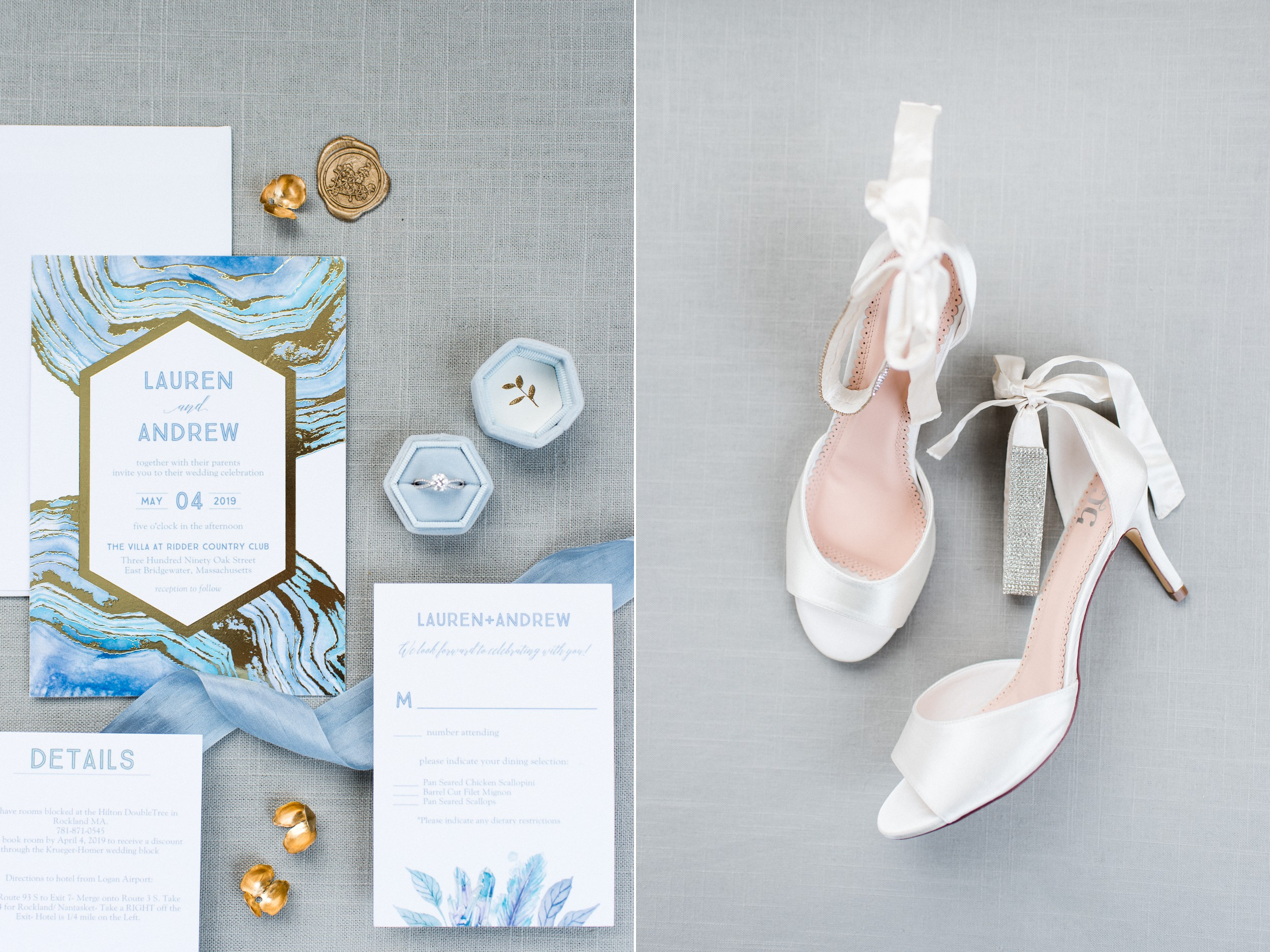 The Villa at Ridder Country Club Spring Wedding East Bridgewater MA bridal details flat lay white wedge wedding shoes and blue modern invitation suite