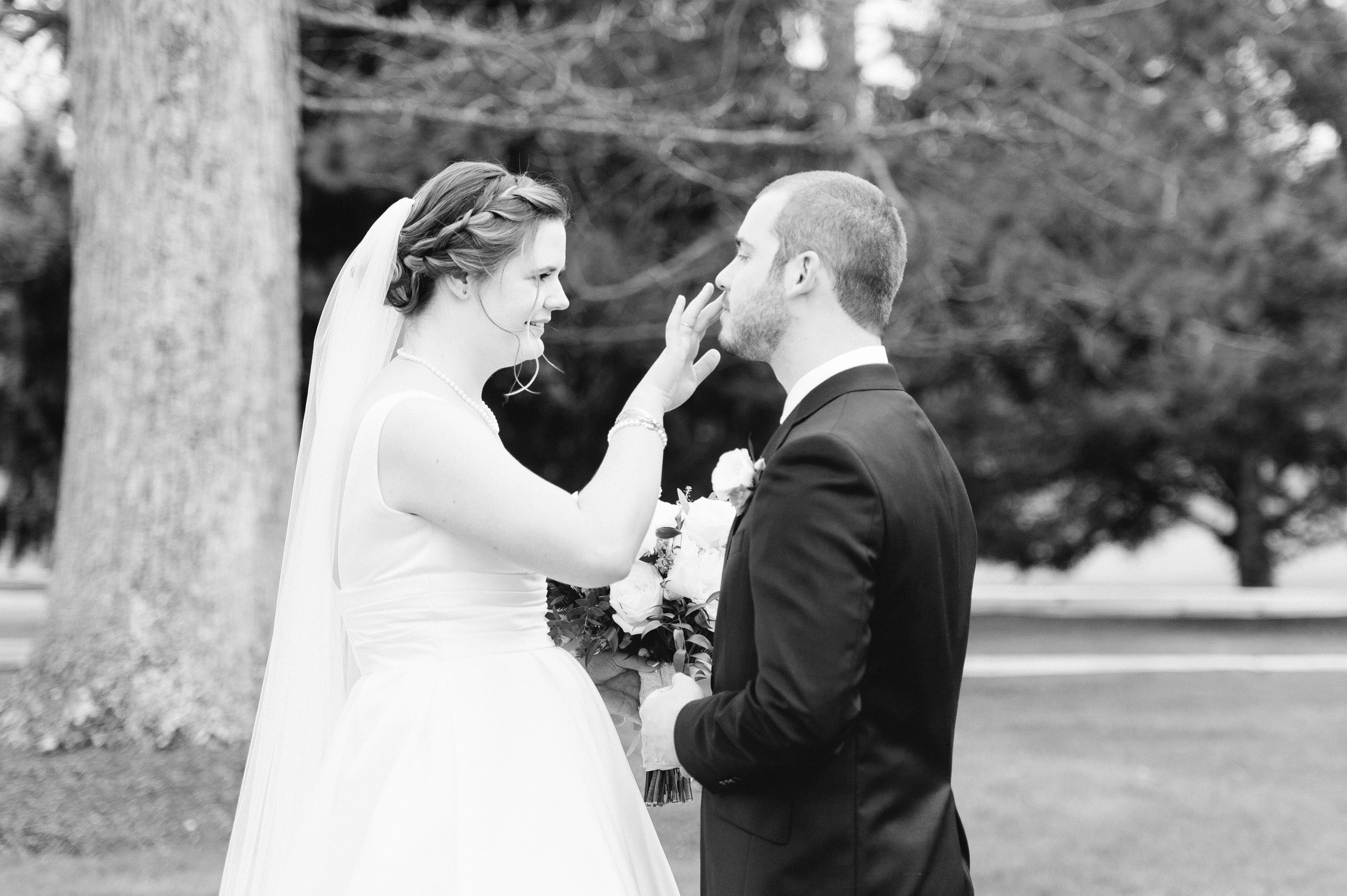 The Villa at Ridder Country Club Spring Wedding Bride and Groom Portraits East Bridgewater MA First Look Flowers by The Tangled Web black and white