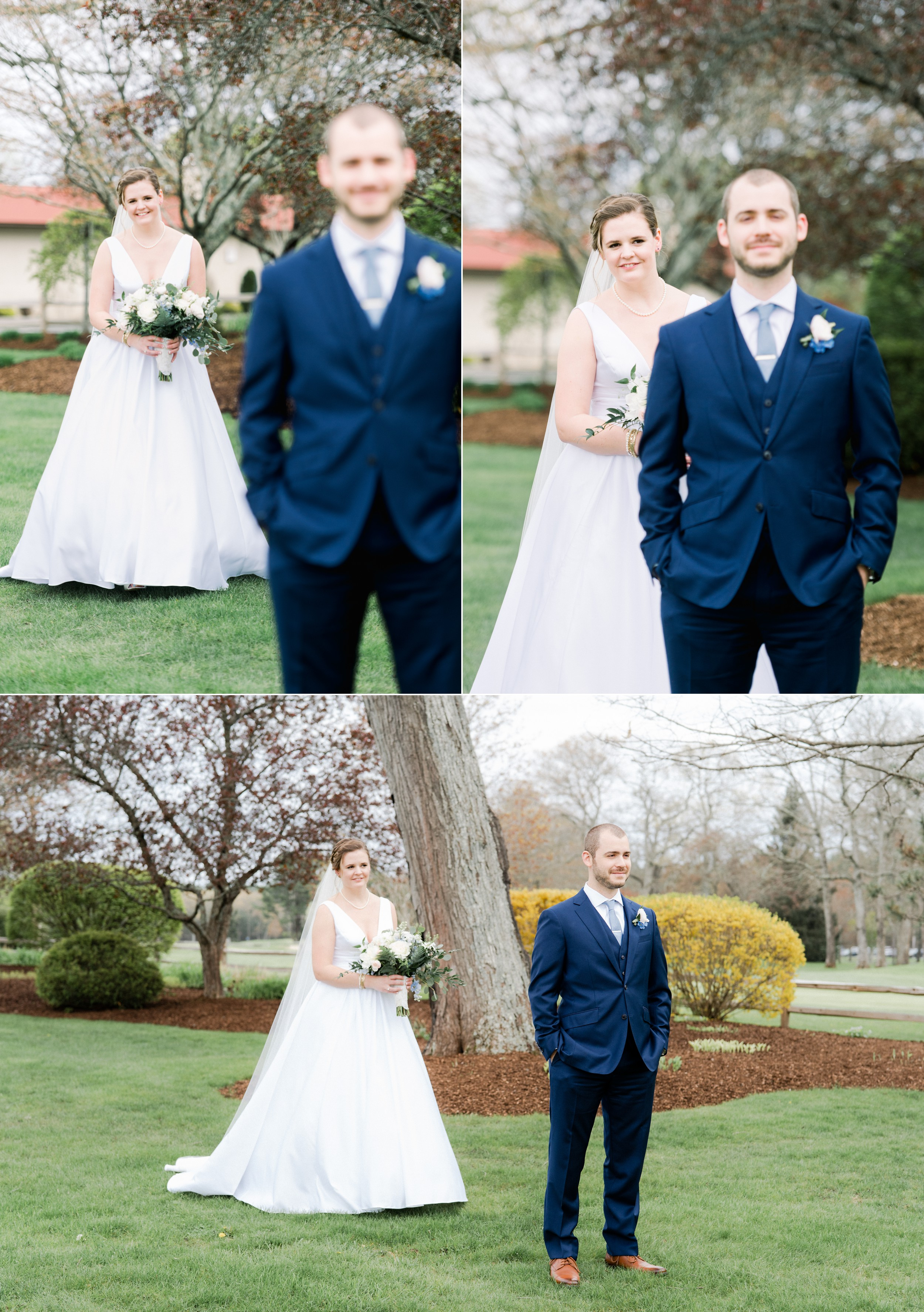 The Villa at Ridder Country Club Spring Wedding Bride and Groom Portraits East Bridgewater MA First Look Flowers by The Tangled Web