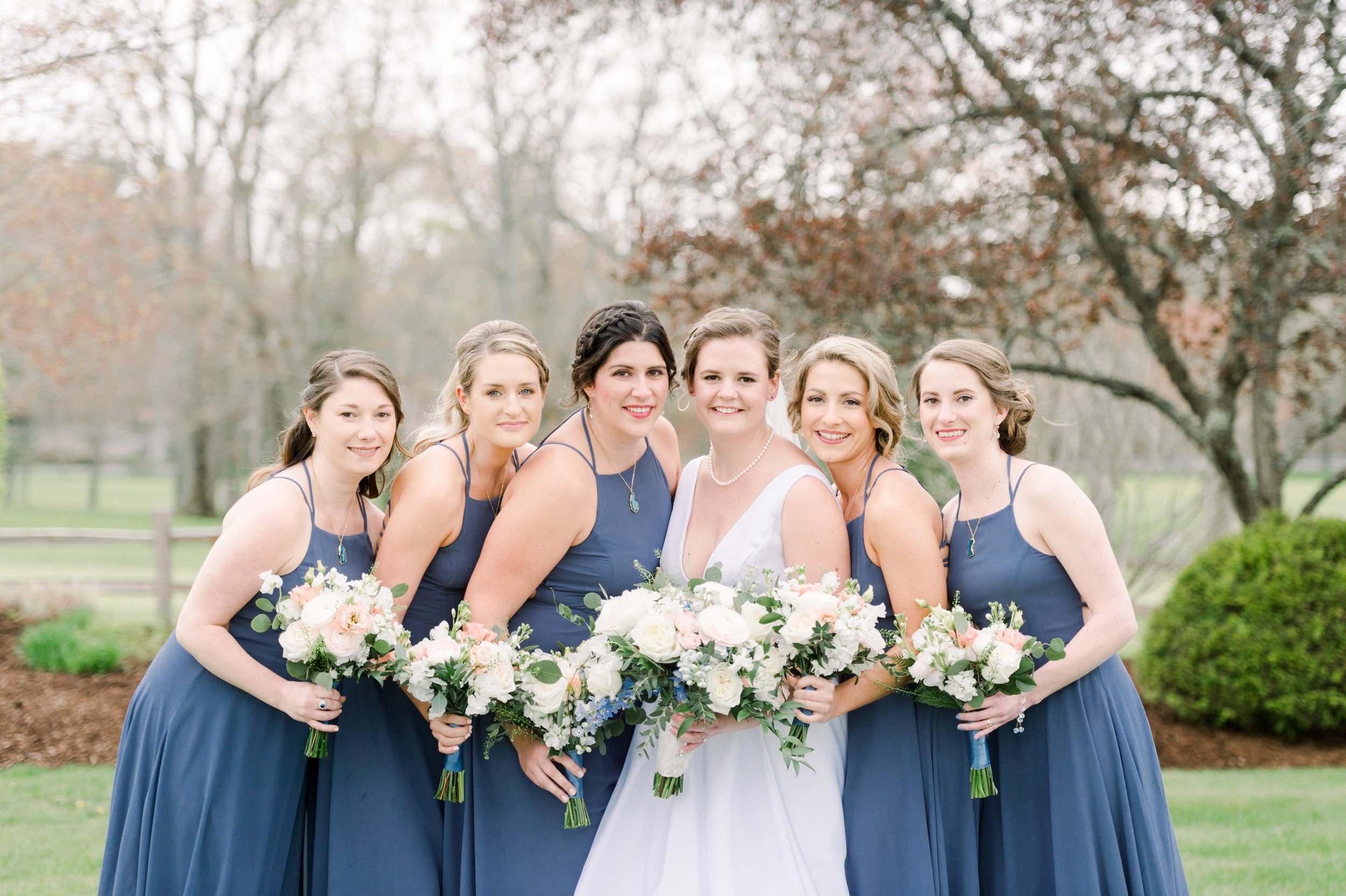 The Villa at Ridder Country Club Spring Wedding East Bridgewater MA First Look dusty blue bridesmaid dresses bridal party portraits