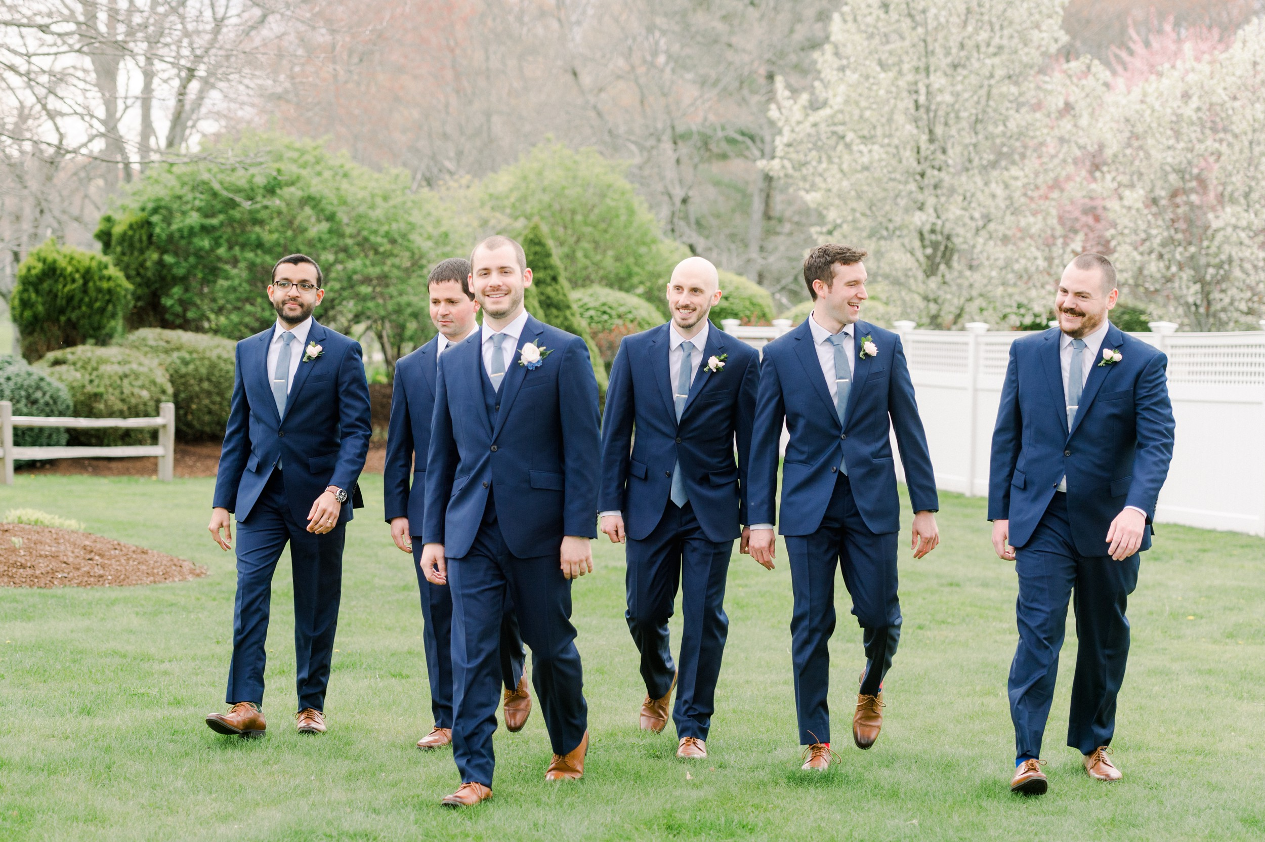 The Villa at Ridder Country Club Spring Wedding East Bridgewater MA First Look navy suits for groomsmen