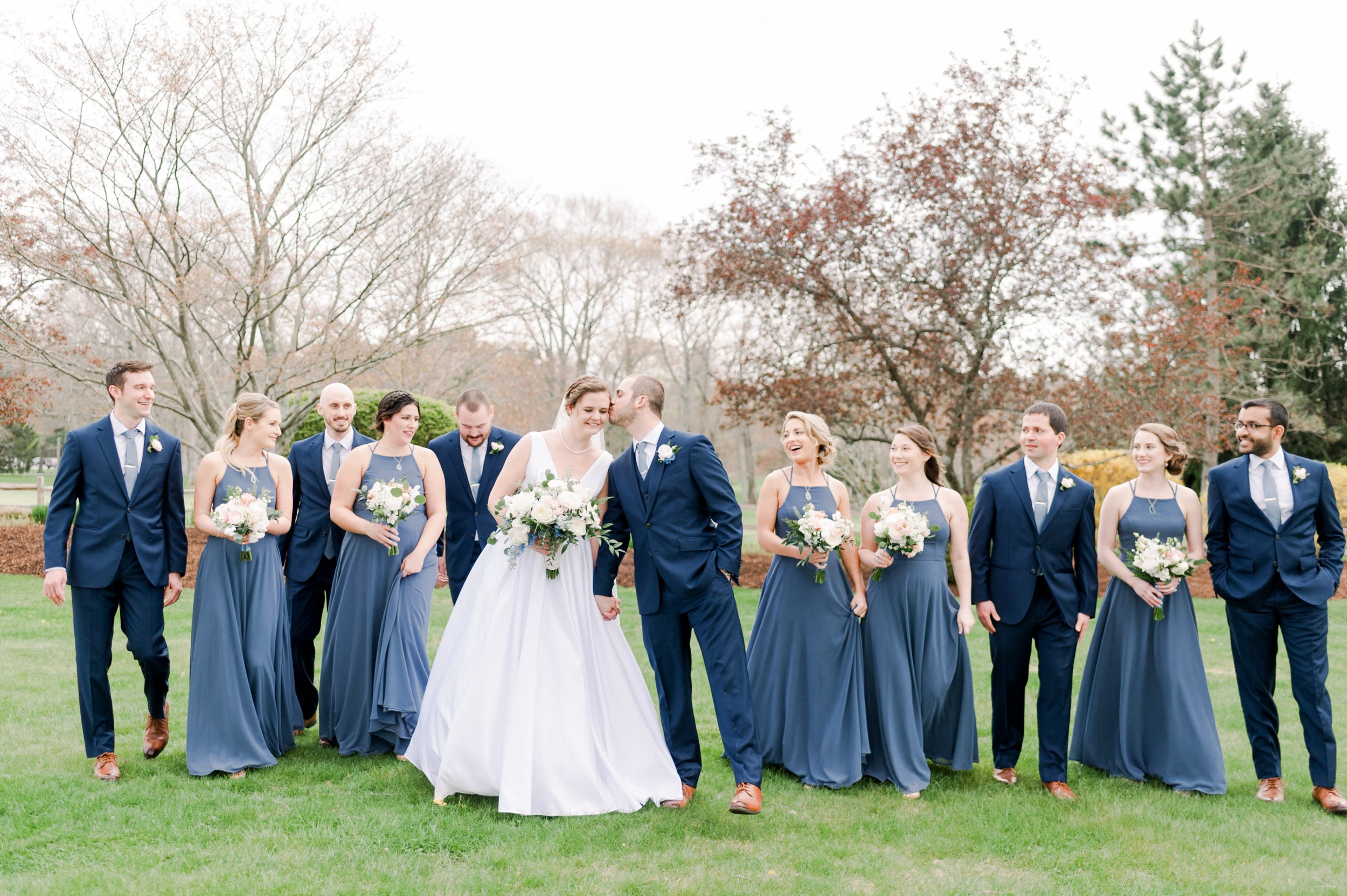 The Villa at Ridder Country Club Spring Wedding East Bridgewater MA First Look dusty blue bridesmaid dresses and navy suits wedding party portraits