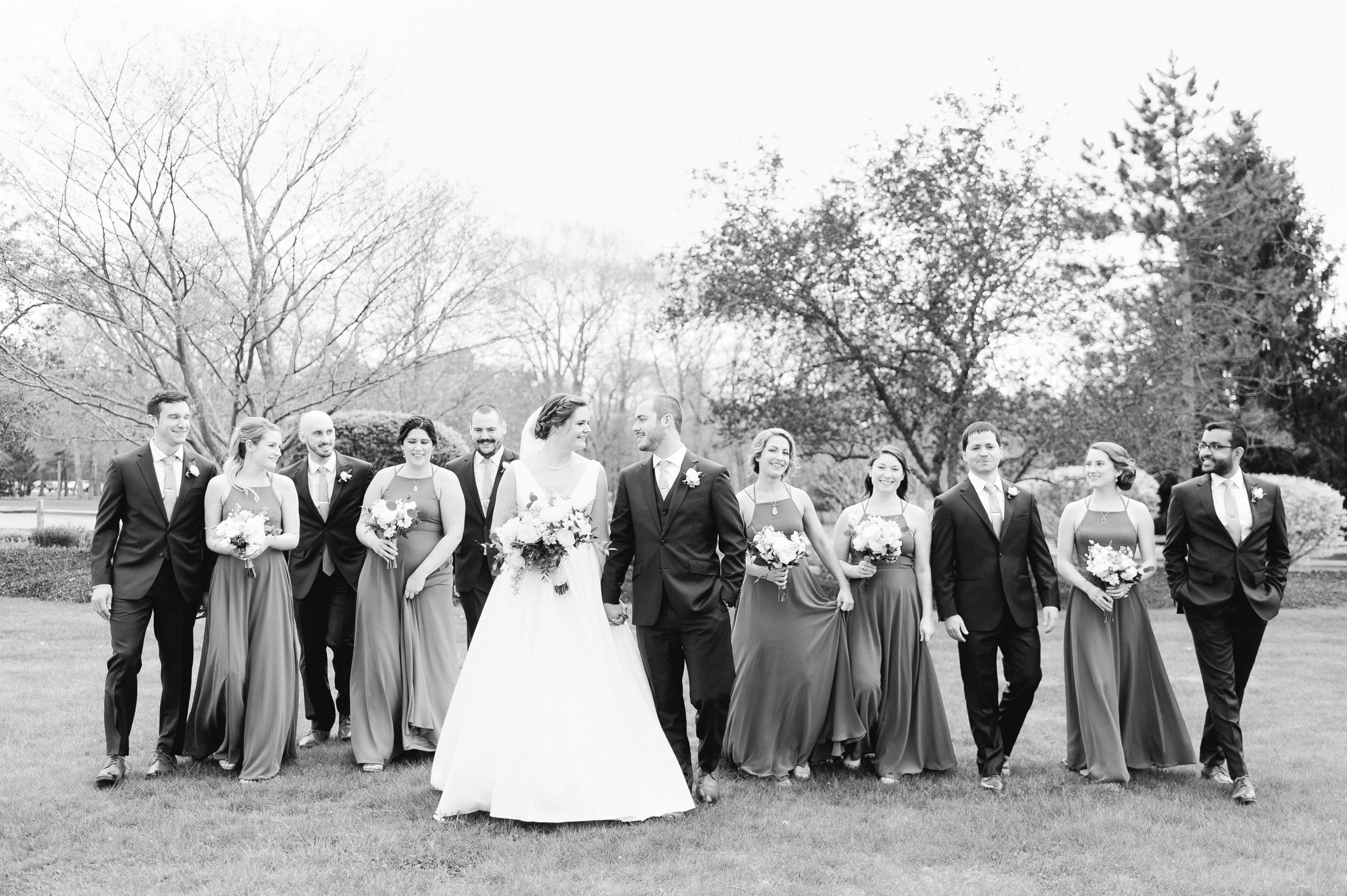 The Villa at Ridder Country Club Spring Wedding East Bridgewater MA First Look wedding party photo black and white