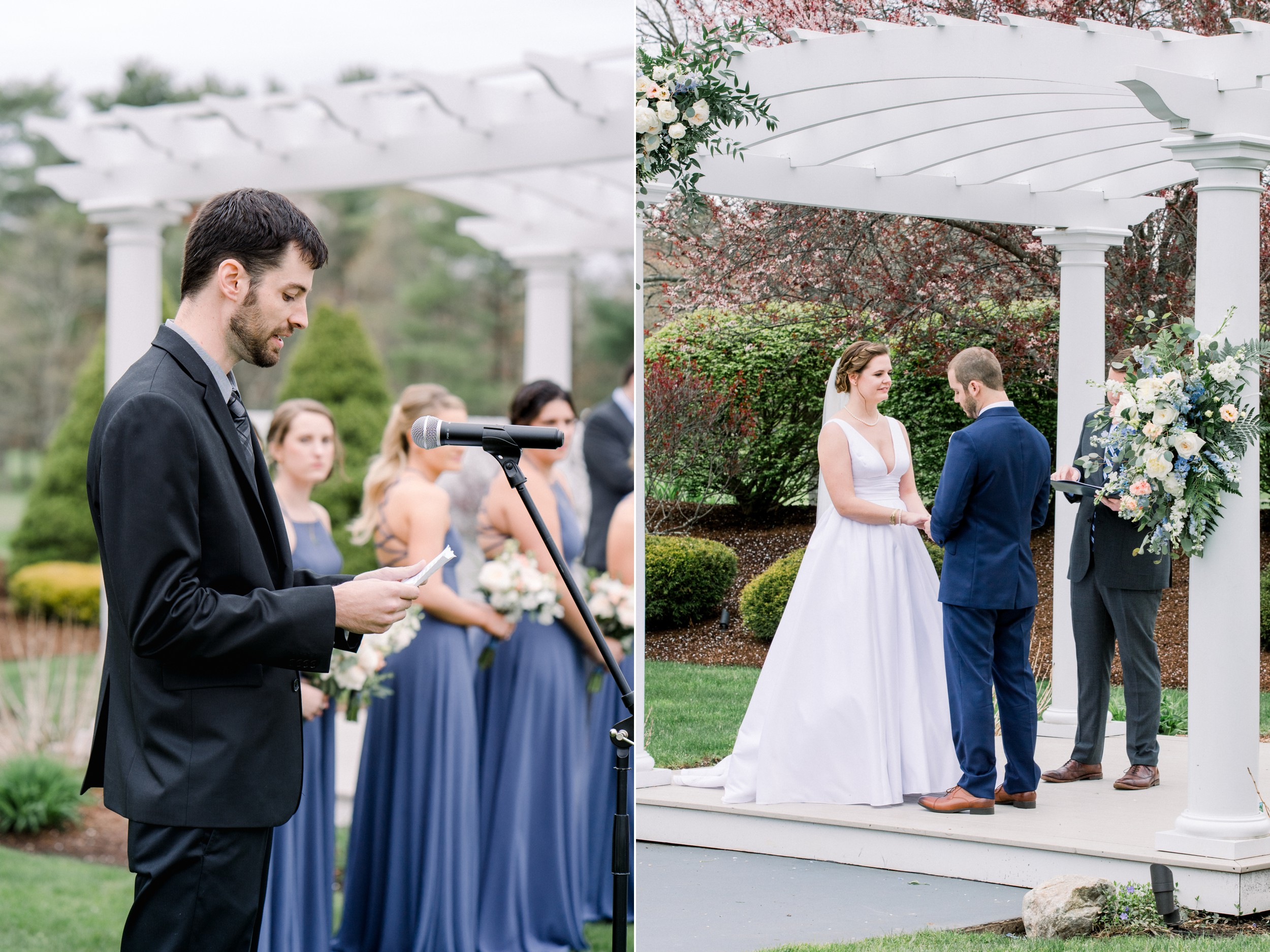 The Villa at Ridder Country Club Outdoor Wedding Ceremony in Spring bride and groom say their vows