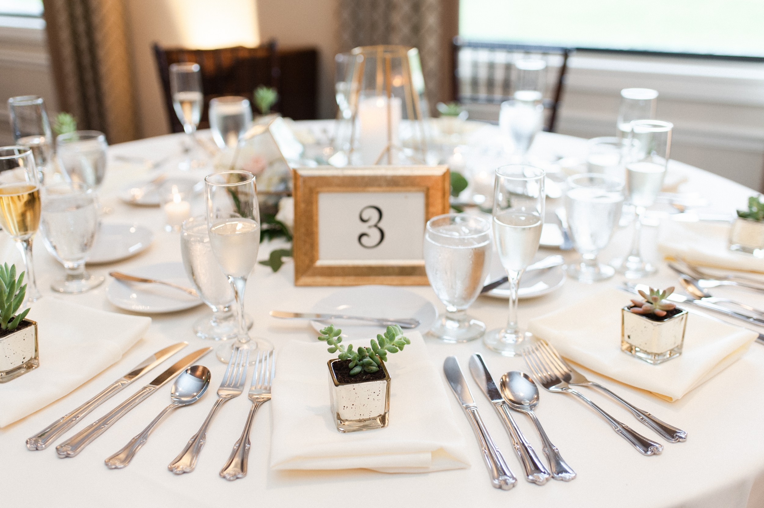 modern wedding reception tablescape with mini succulents as wedding favors at The Villa at Ridder Country Club