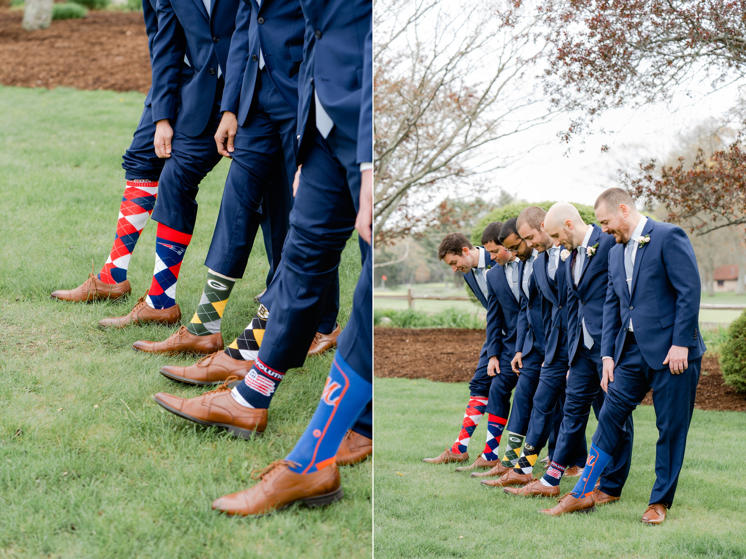 The Villa at Ridder Country Club Spring Wedding Groomsmen in navy suits and sports socks Portraits East Bridgewater MA