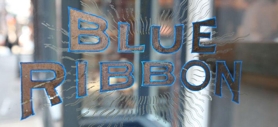 Blue Ribbon Logo Decal on Glass Door
