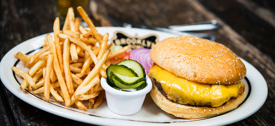 Burger & Fries with Garnish on a Plate