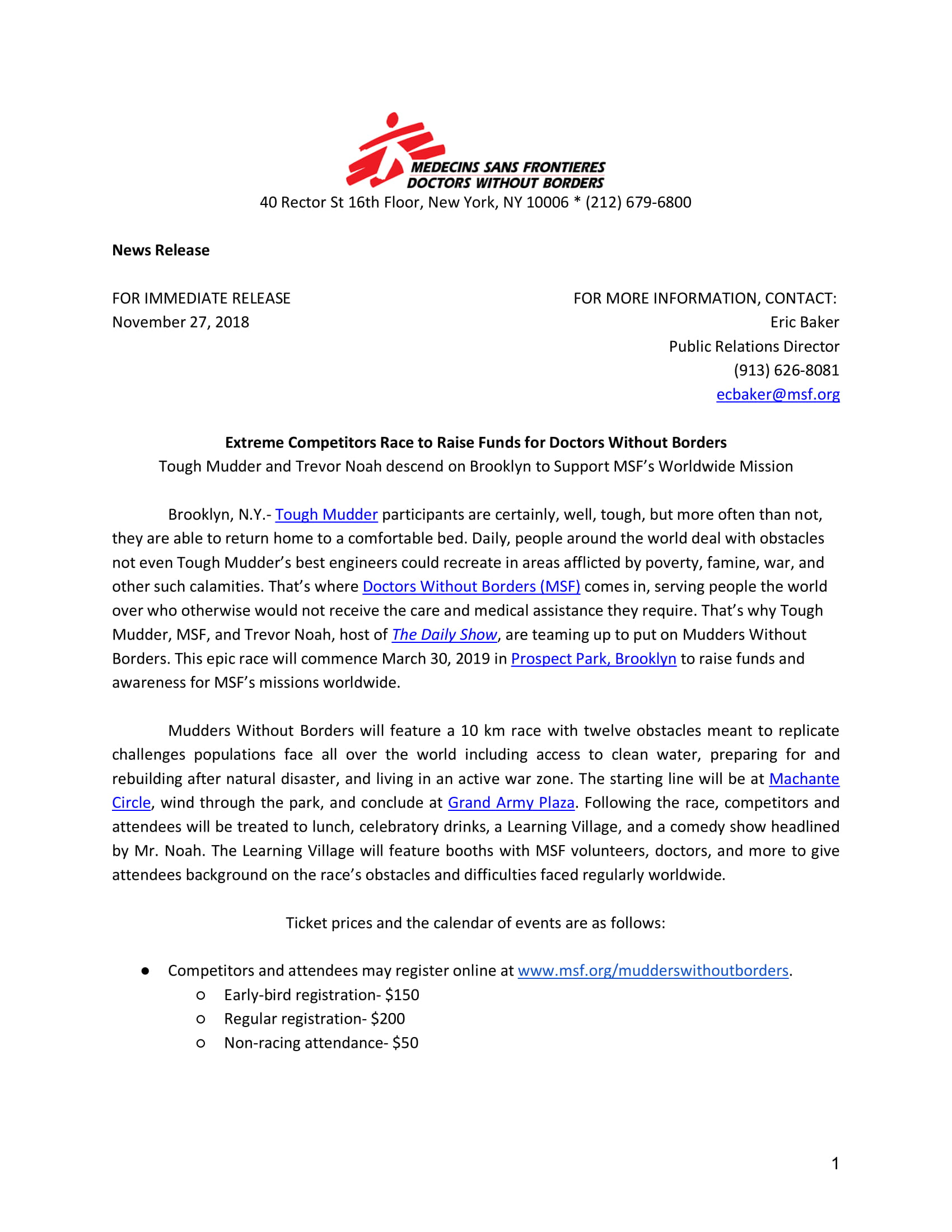 Mudders Without Border Press Release Page 1