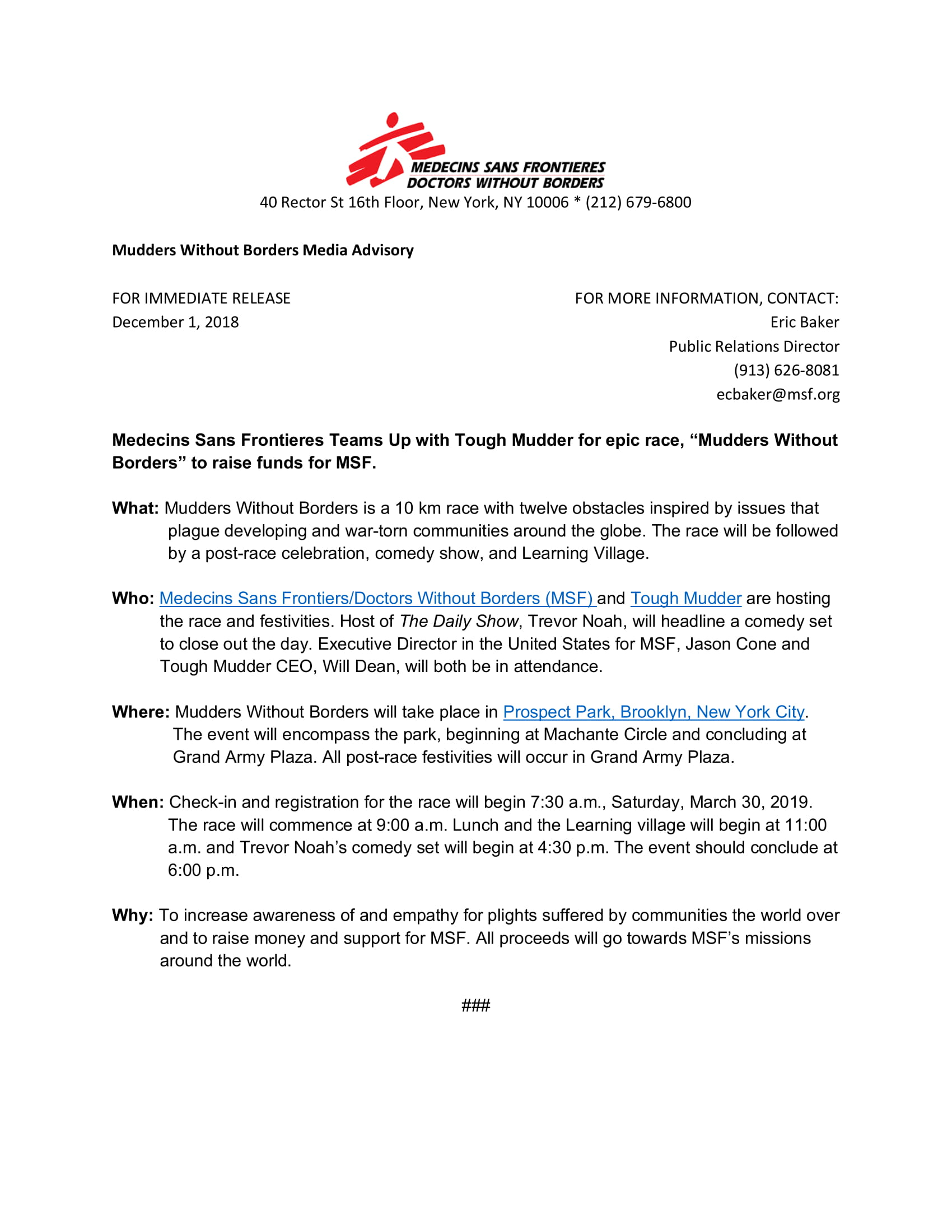 Mudders without borders media advisory