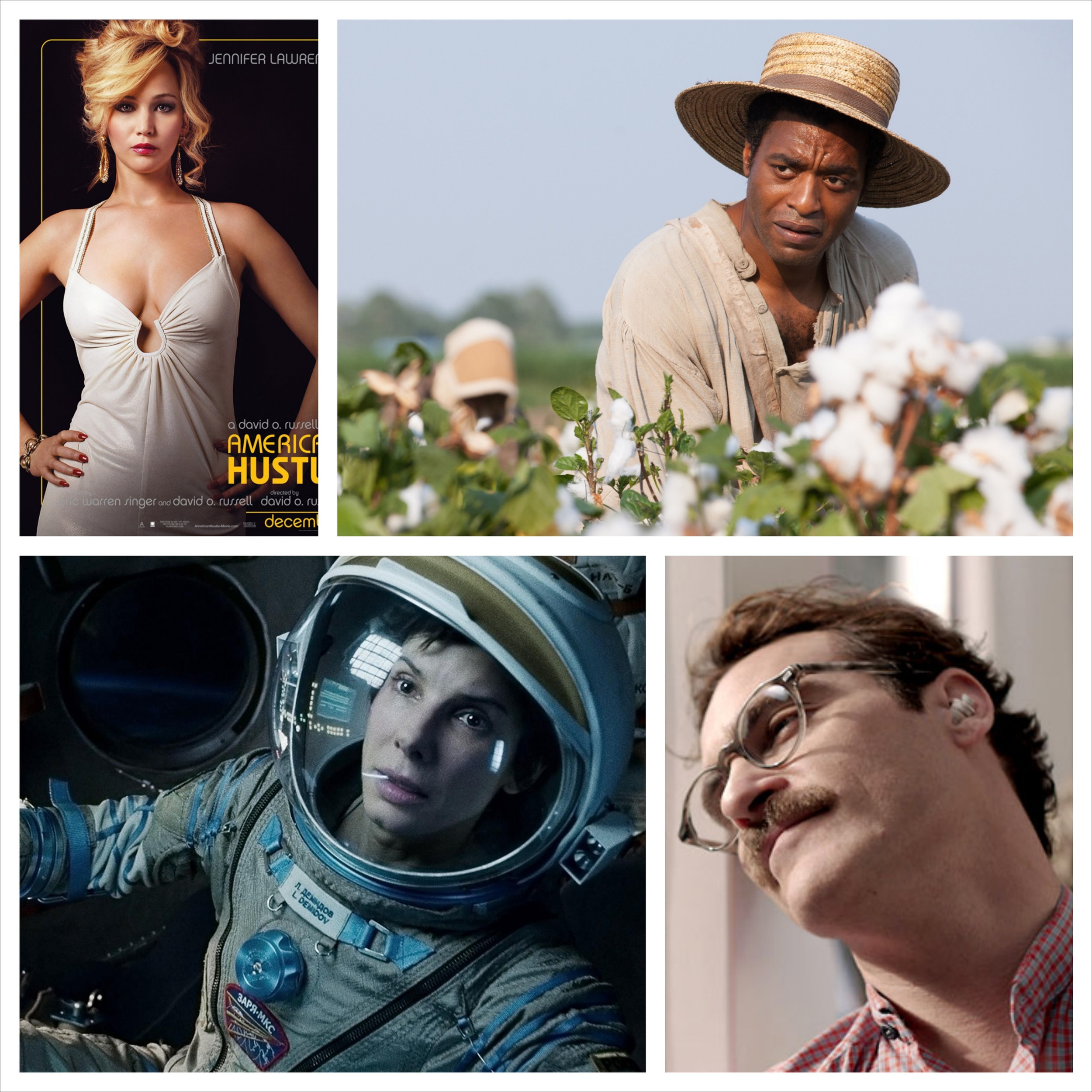 Best Picture Nominees: American Hustle, 12 Years a Slave, Gravity,  and  Her