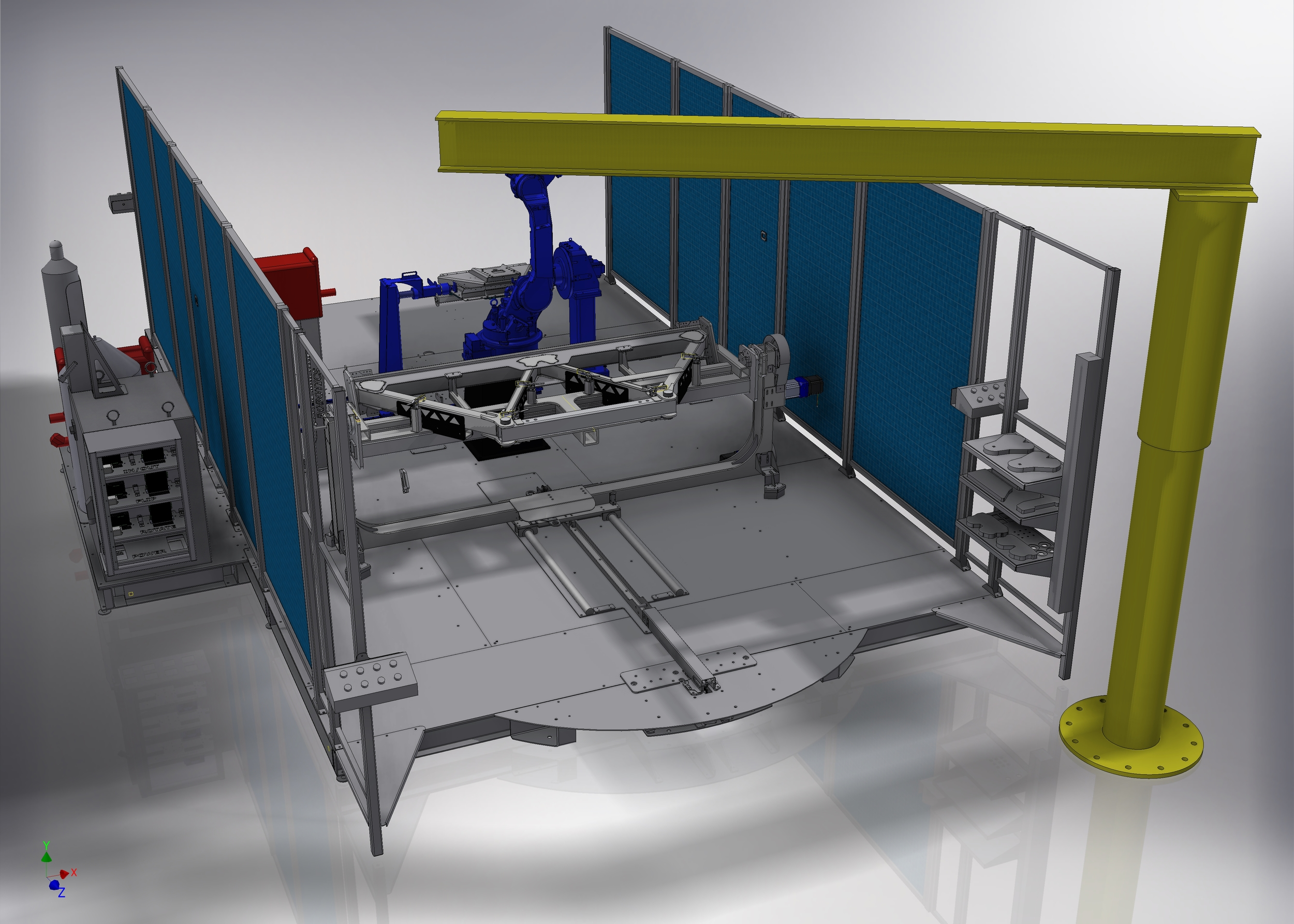 CAD Model of the robotic cell drawn in Autodesk Inventor