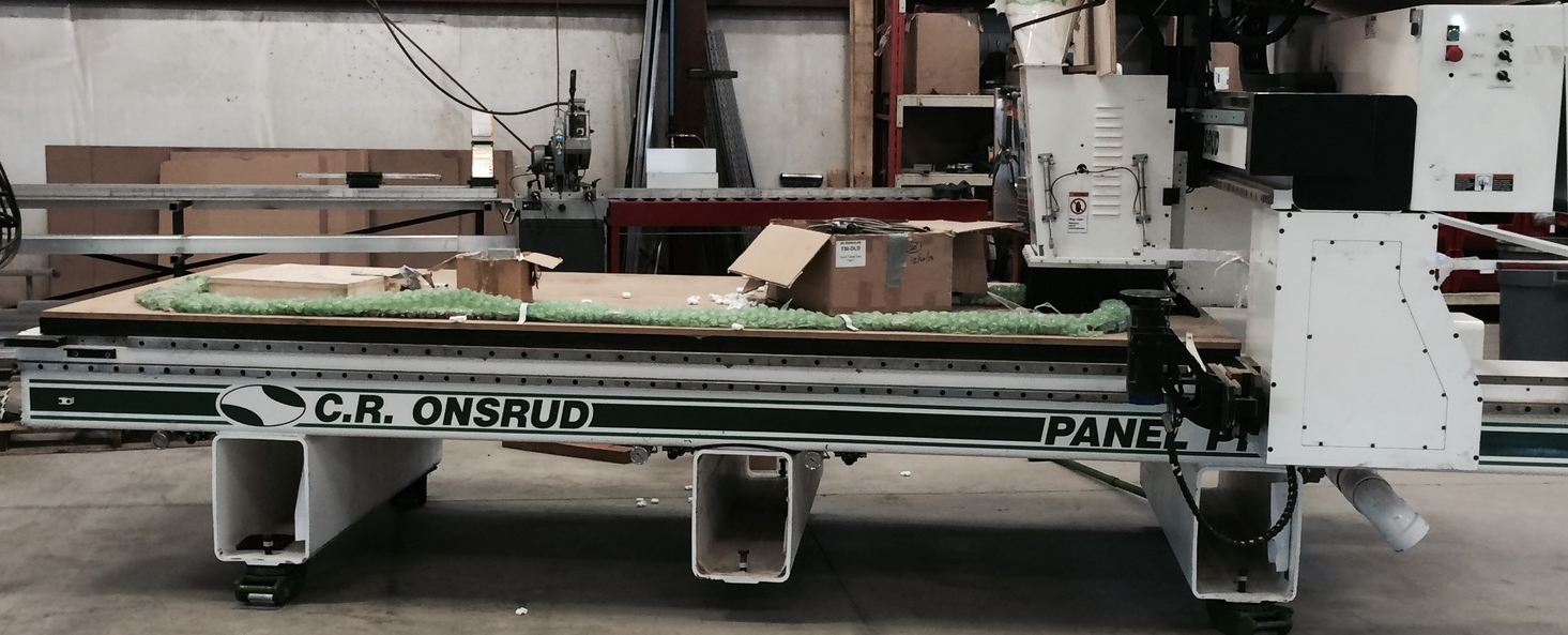 The new CR Onsrud Gantry Router with a 4th (C) axis right after it was unloaded by crane at our facility.