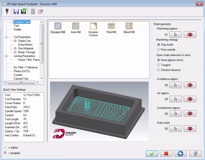 """We use both MasterCam and Inventor HSM to complete our machine programs. This is a screen shot of what MasterCam calls """"Dynamic Milling""""."""
