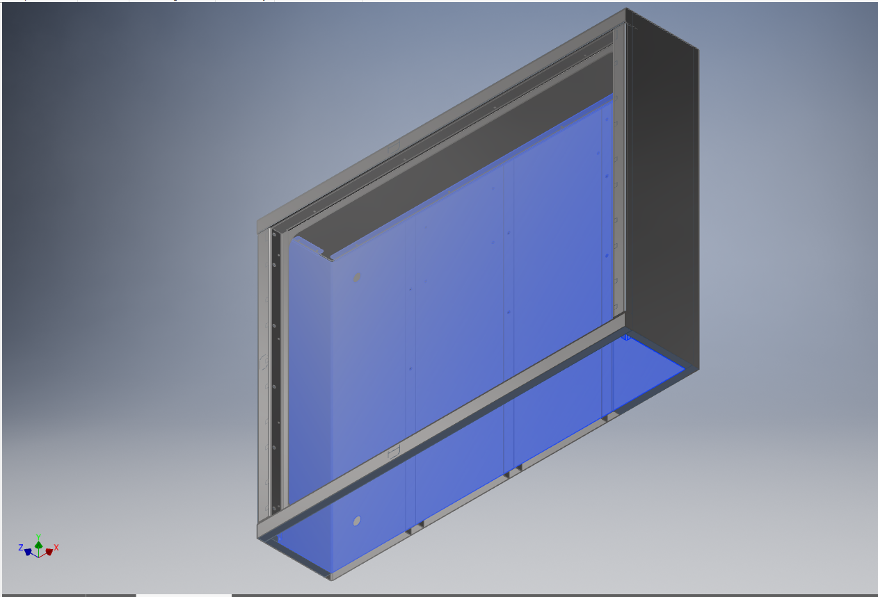 Here is a screenshot of the computer model in Autodesk Inventor, where our engineers can click and drag components around to test for possible interference during assembly.