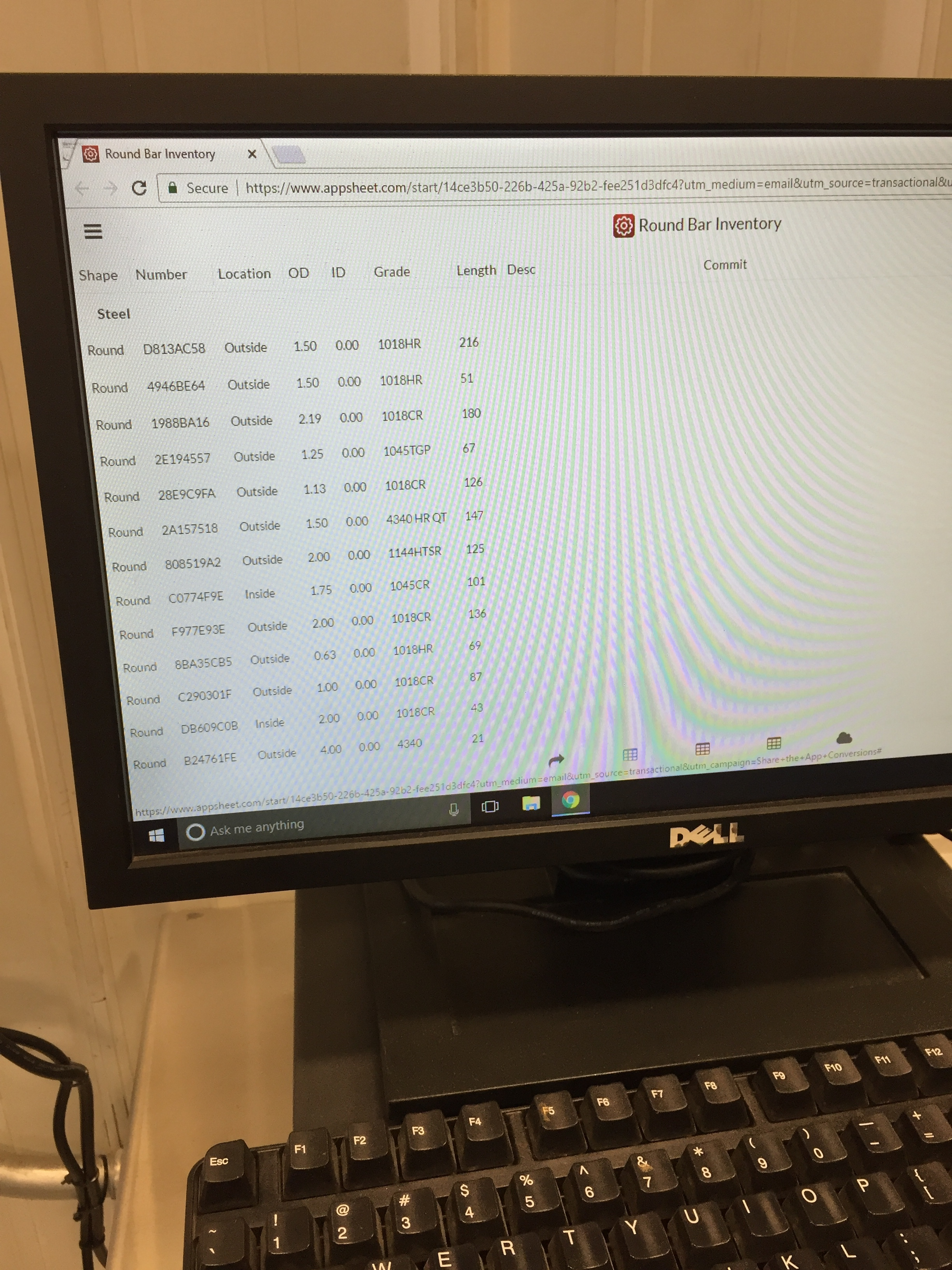 The first step when a work order is posted to the shop floor is to log into our Inventory system and find the correct raw material to use.  This computer screen is one terminal that runs a mobile app that we've created.  The App can be viewed on any device and is 100% cloud based.