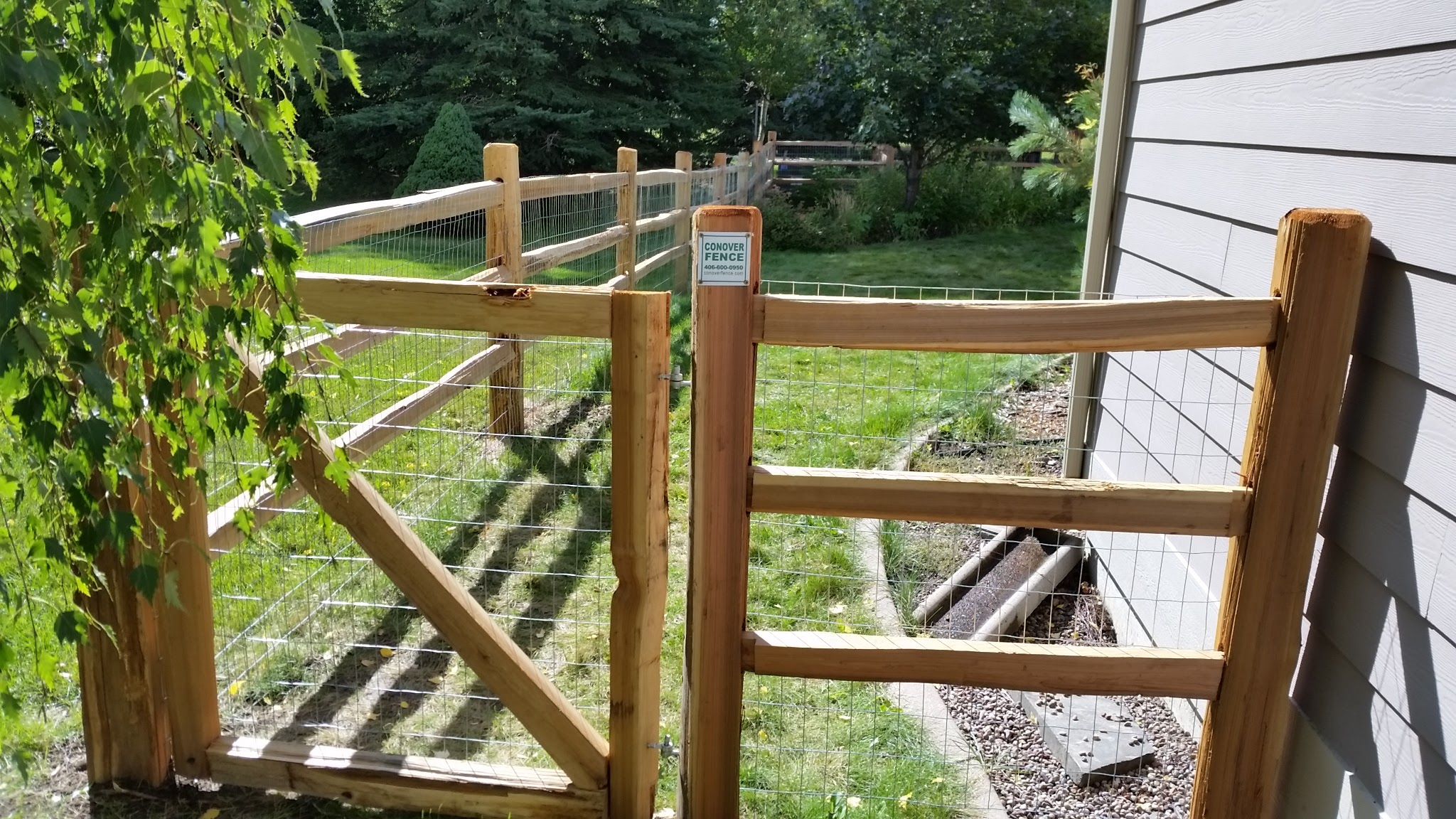 Split-rail cedar gate