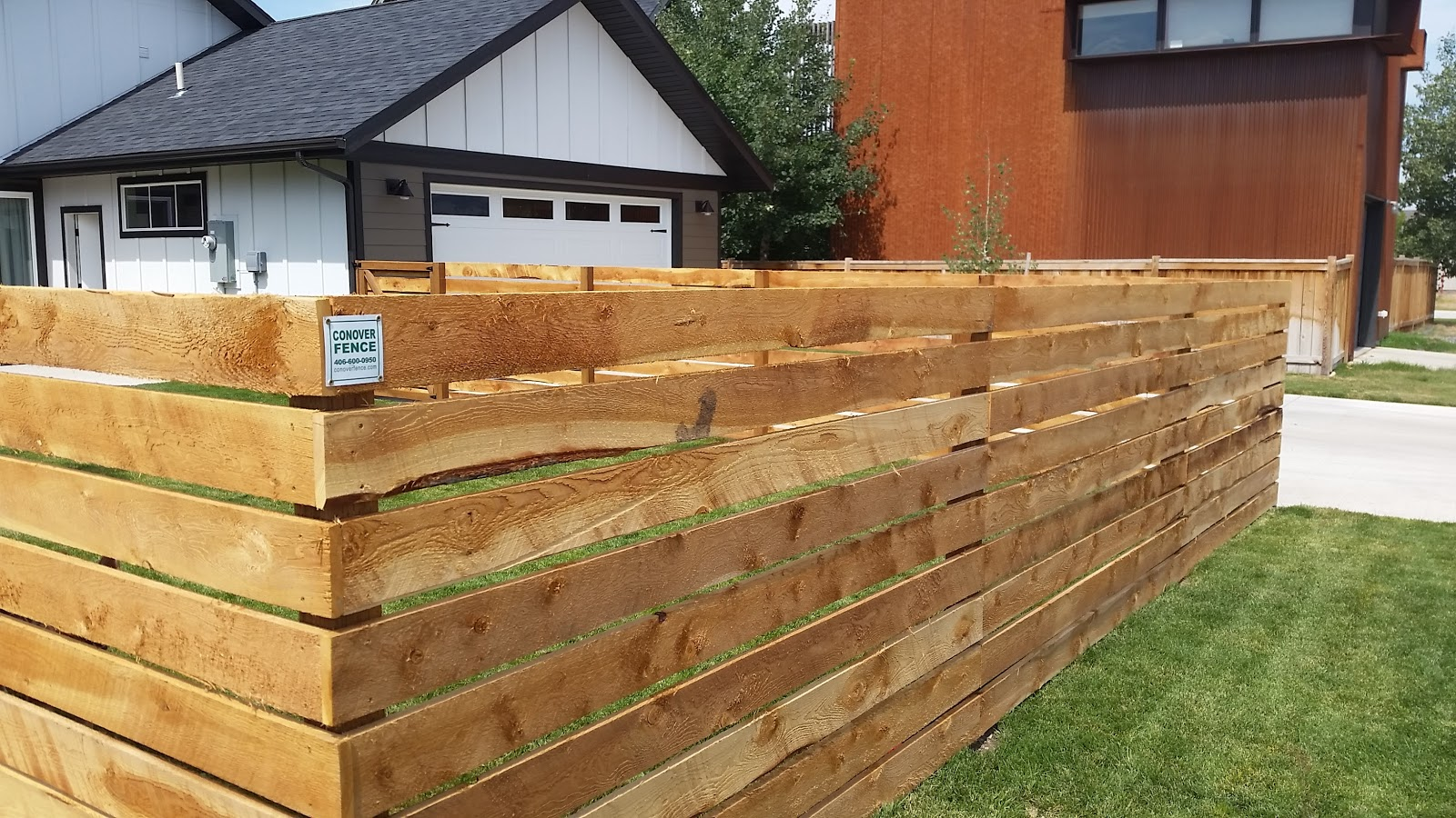 Horizontal fences provide a nice alterative to vertical styles. Cedar or fir is common, and this style remains popular on modern farmhouses across the Valley.
