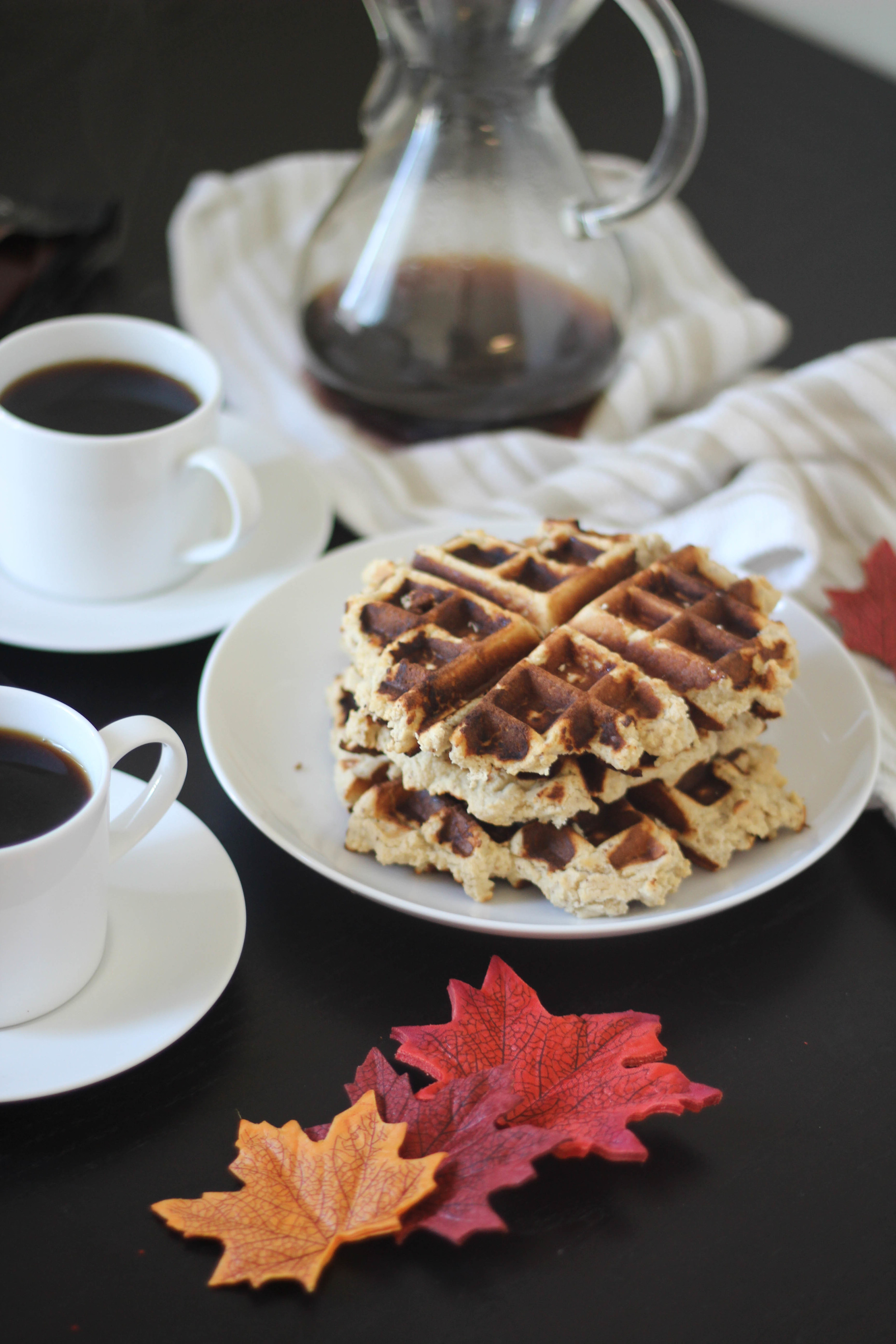 Paleo Waffles with Pumpkin Cream Topping | Freckled Italian