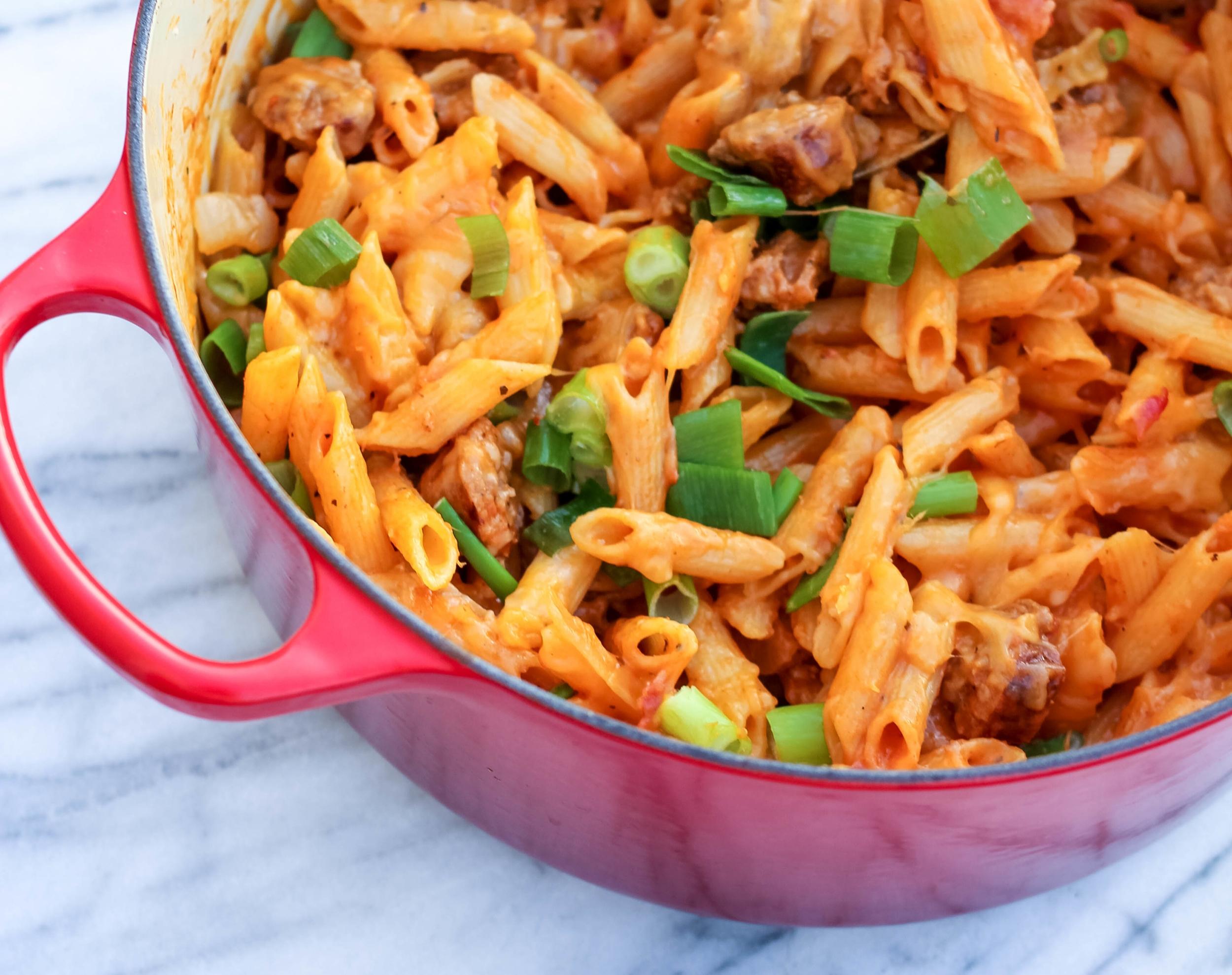 Gluten-Free Cheesy One-Pot Sausage Pasta | Freckled Italian