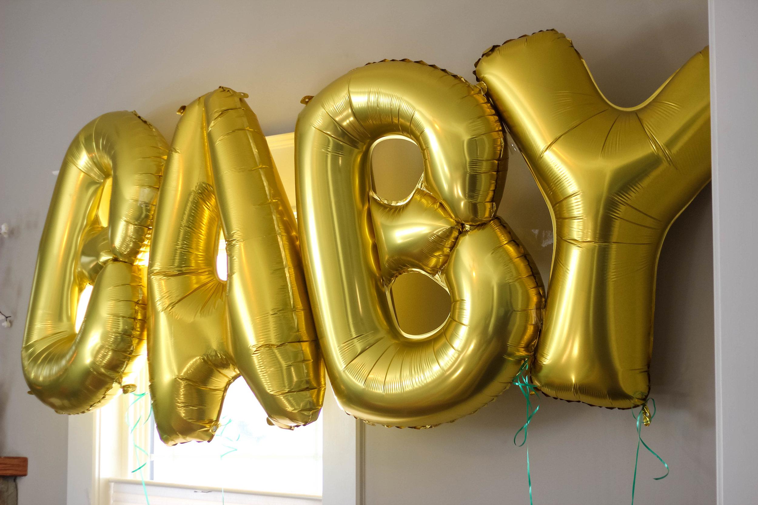 Baby Shower Gold Letter Balloons   Freckled Italian
