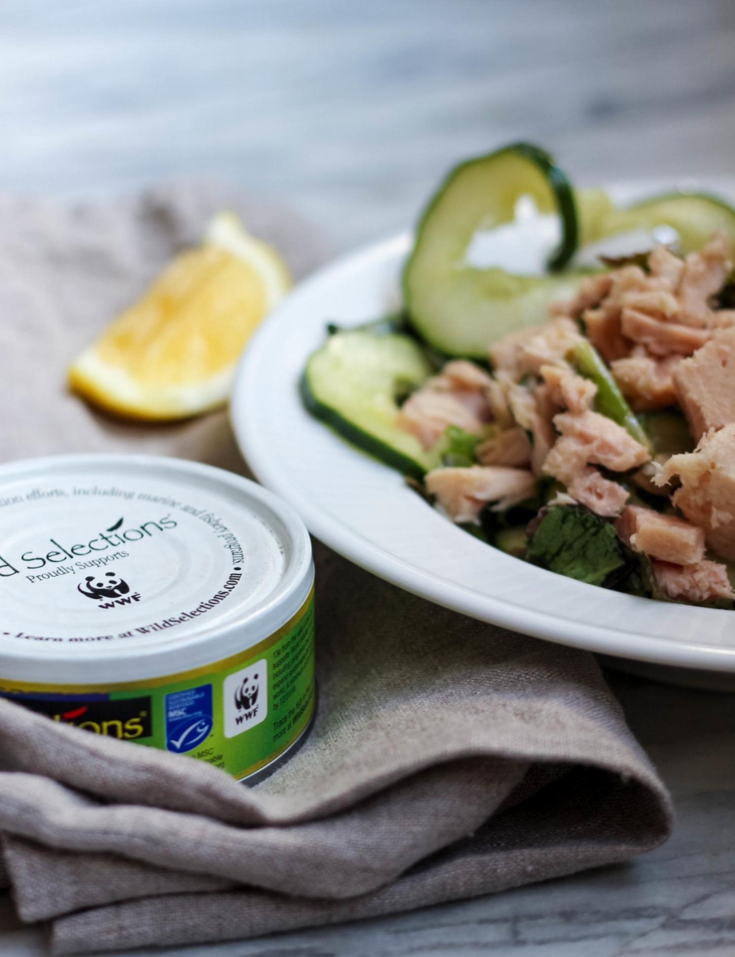 Lemony Cucumber Salad with Tuna and Peas | Freckled Italian