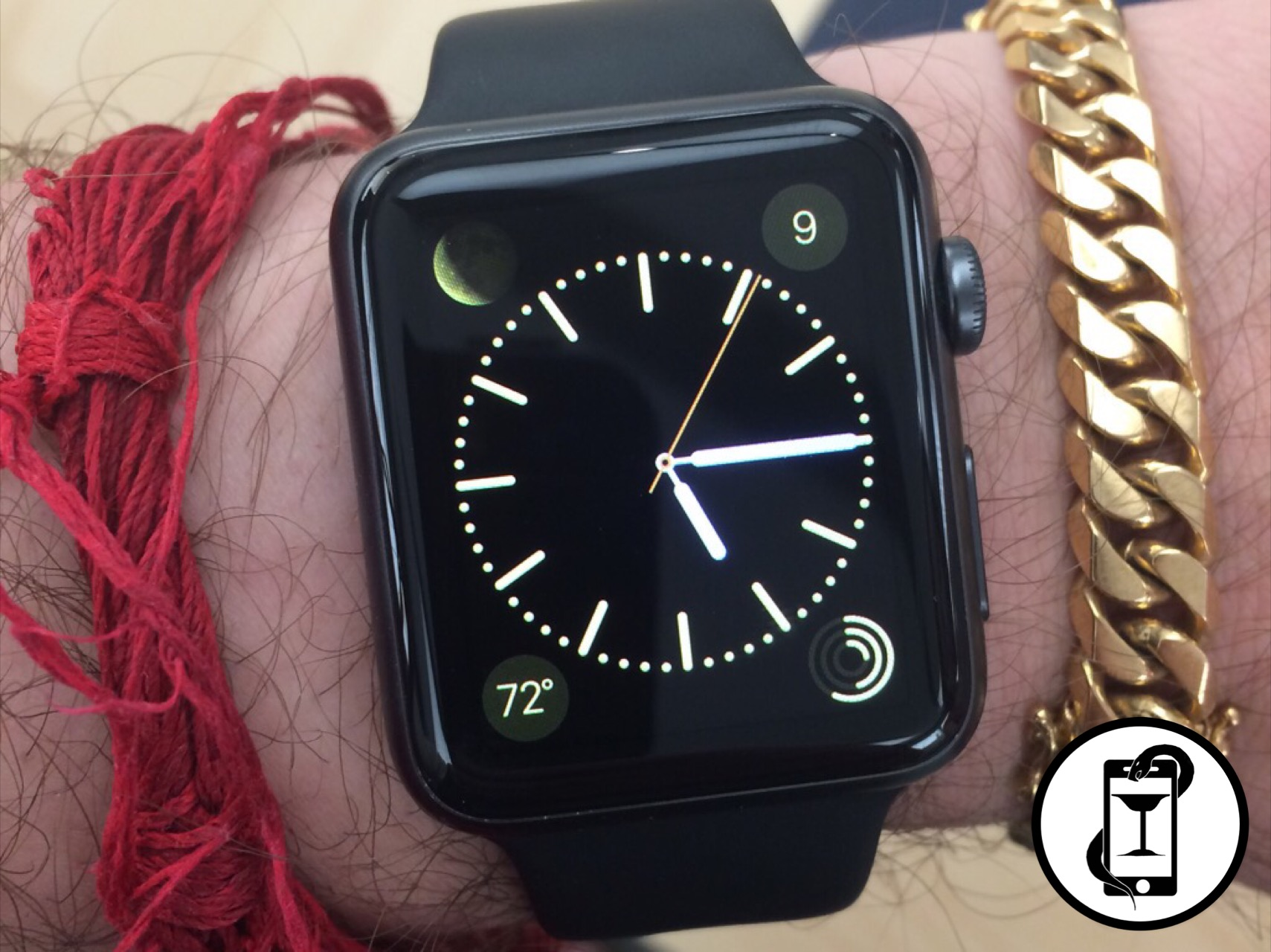 The Apple Watch 48mm Sport Version with default strap. The red string bracelet is from a Cambodian wedding tradition if you were curious.