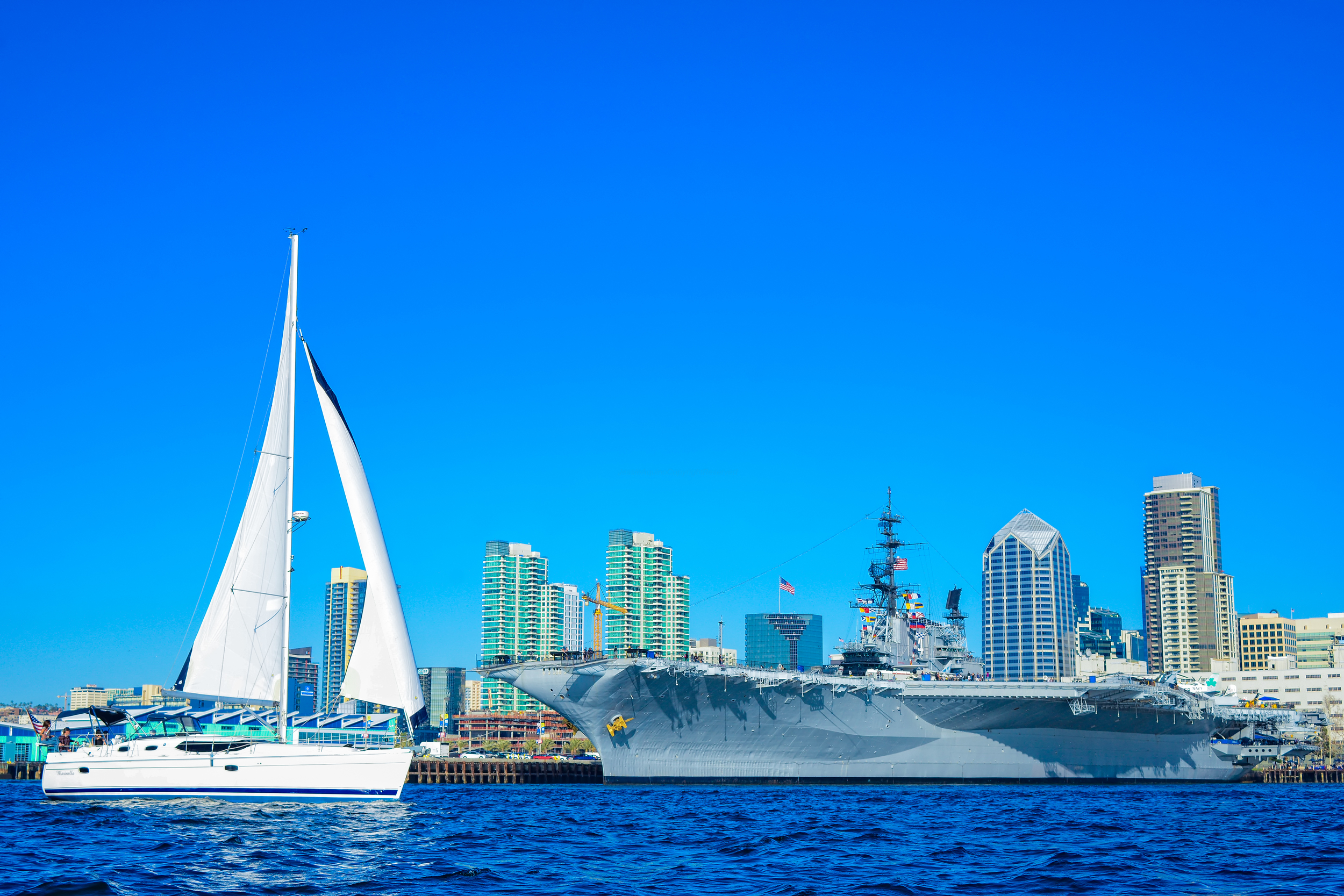 Sailing by the USS Midway in San Diego