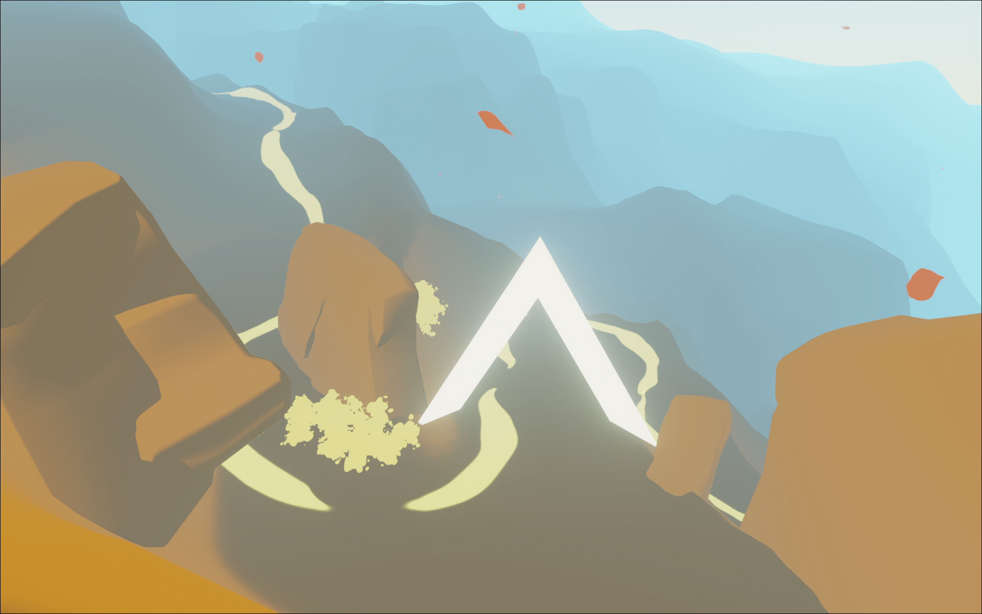 Stu has added a touch of shading to the rocks and is painting paths.