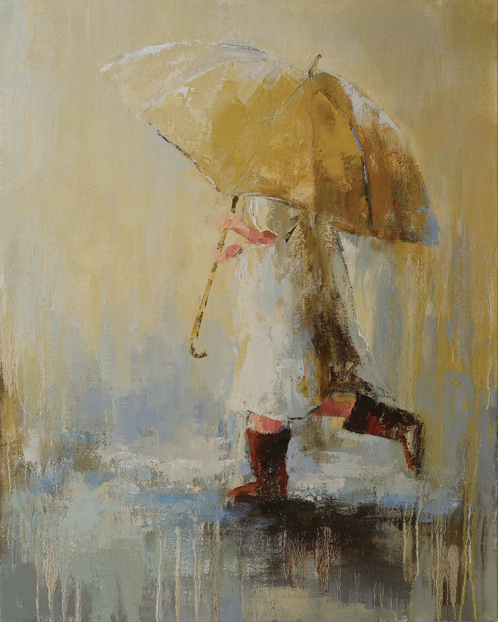"""Golden Umbrella"", 30x24, Angela Nesbit"