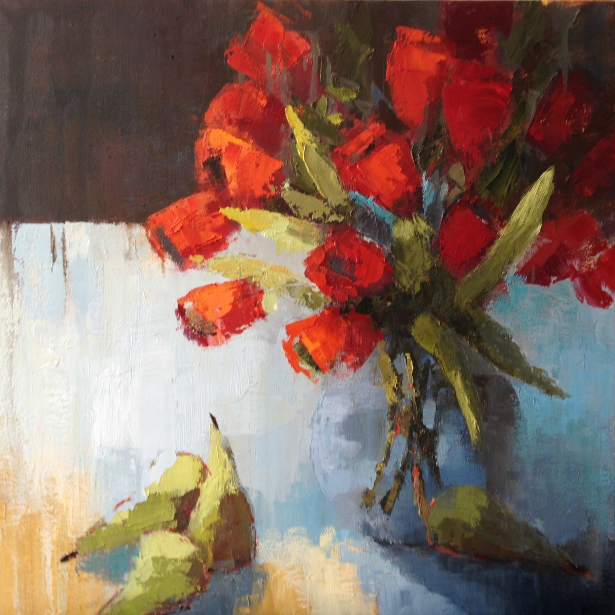 Red Tulips and Pears