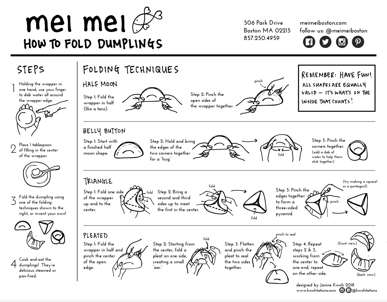 """How to Fold Dumplings"" Brochure created for  Mei Mei Restaurant , a sibling-run restaurant and food truck catering business in Boston serving up creative Chinese-American cuisine made from locally sourced and sustainable ingredients."