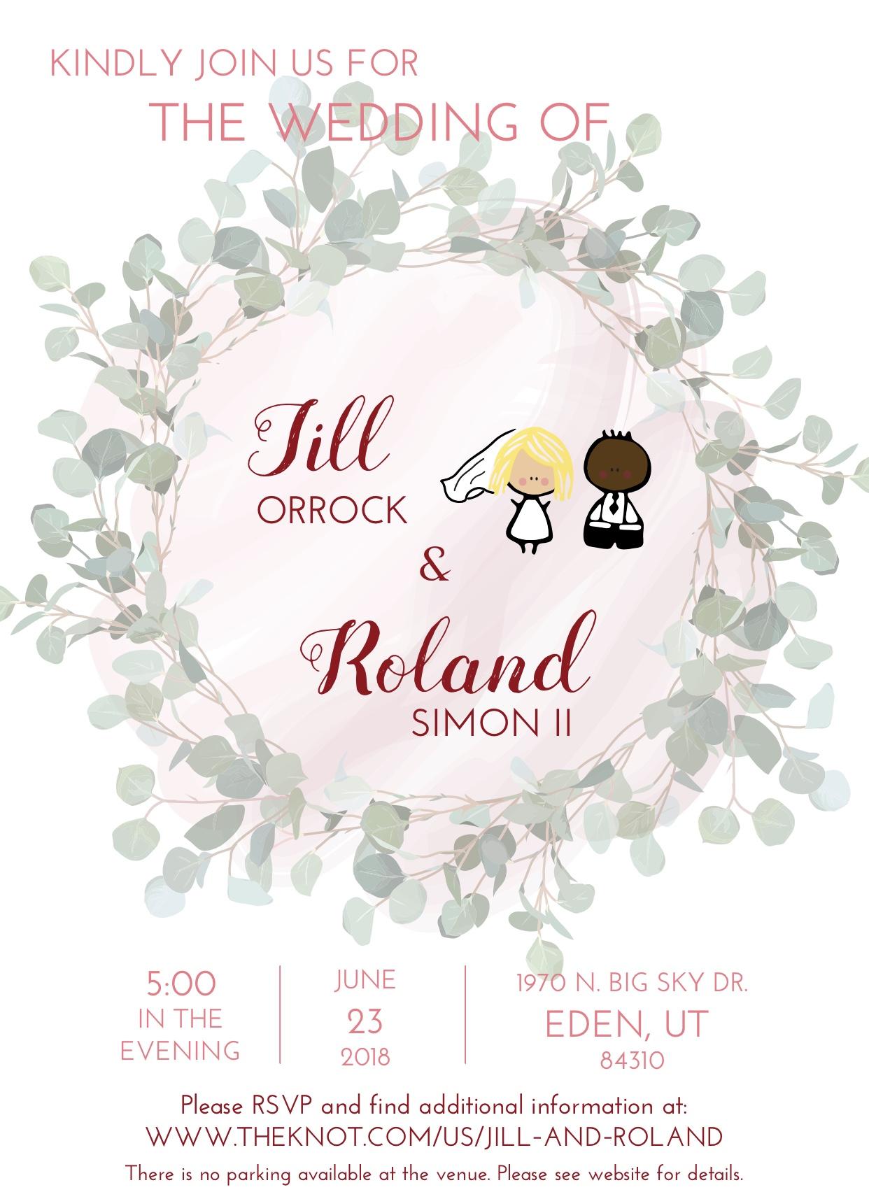 Custom designed wedding invitation (Jill and Roland).