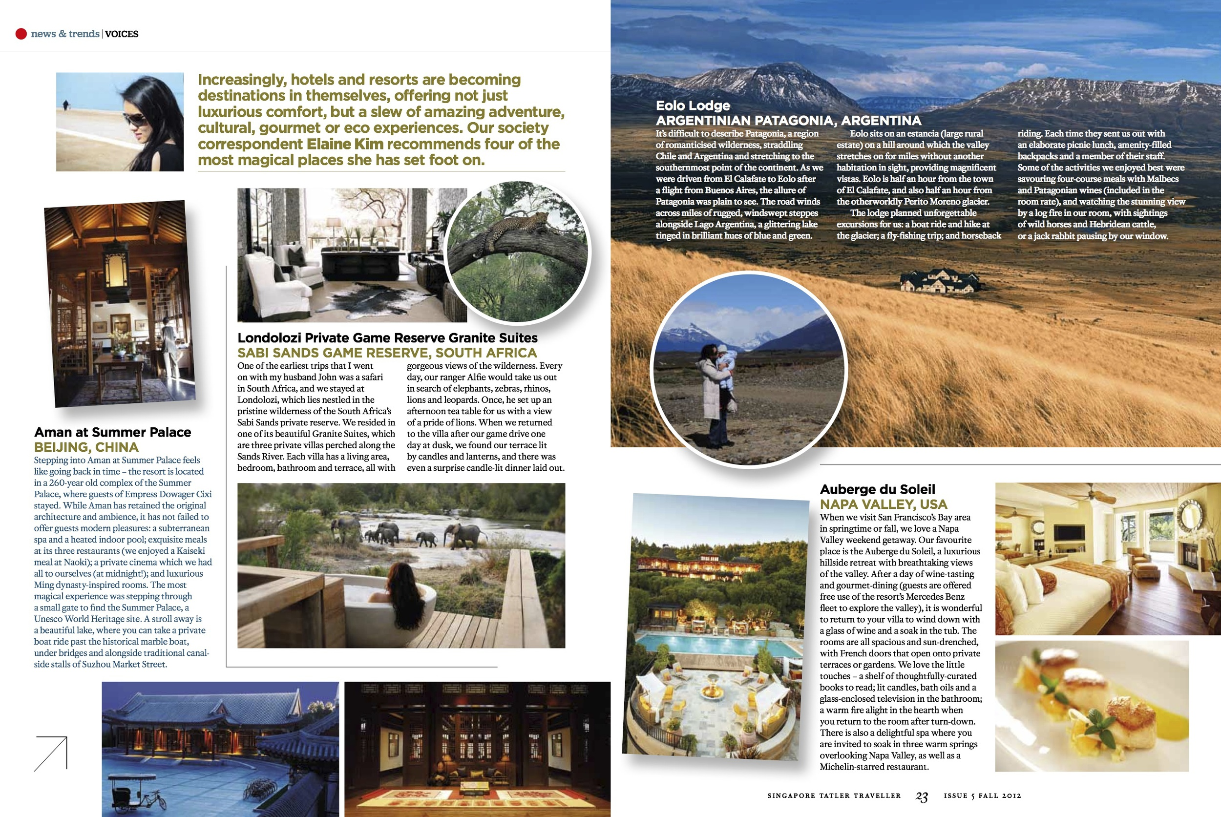 Four Magical Places, Tatler Traveller Sep 2012 [ South Africa, China, Argentina, US (Napa) ]