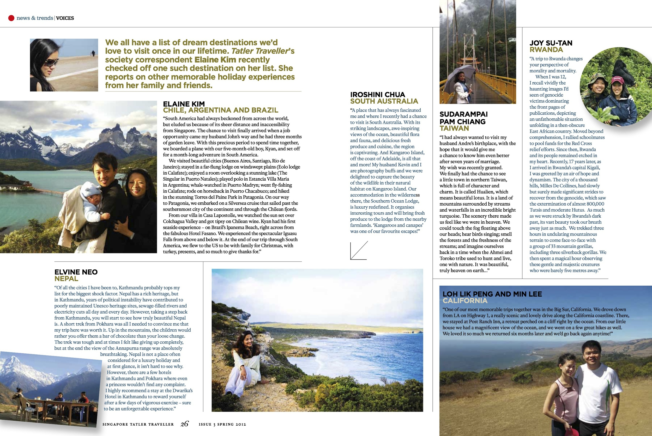 Been There Done That Dream Destinations, Tatler Traveller March 2012 [ Chile, Argentina, Brazil ]