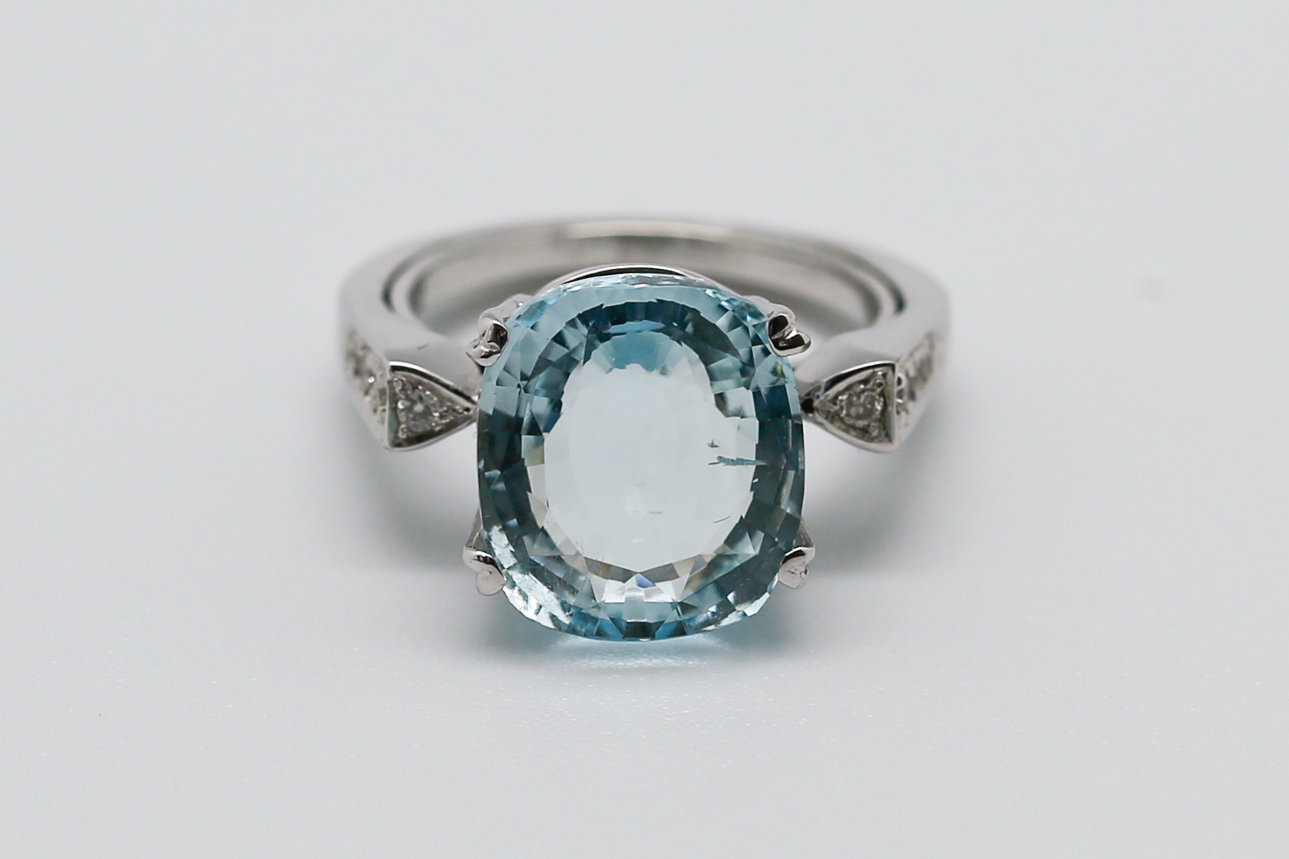 """""""Piscinette"""" is a bespoke piece we created and donated toRiverKids, a charity that works to prevent trafficking of children in Cambodia, for their fundraising efforts. The vintage-inspired designfeatures a clear, light blue aquamarine with an appearance reminiscent of a tiny pool of water, and was inspired by and uniquely created for the charity."""