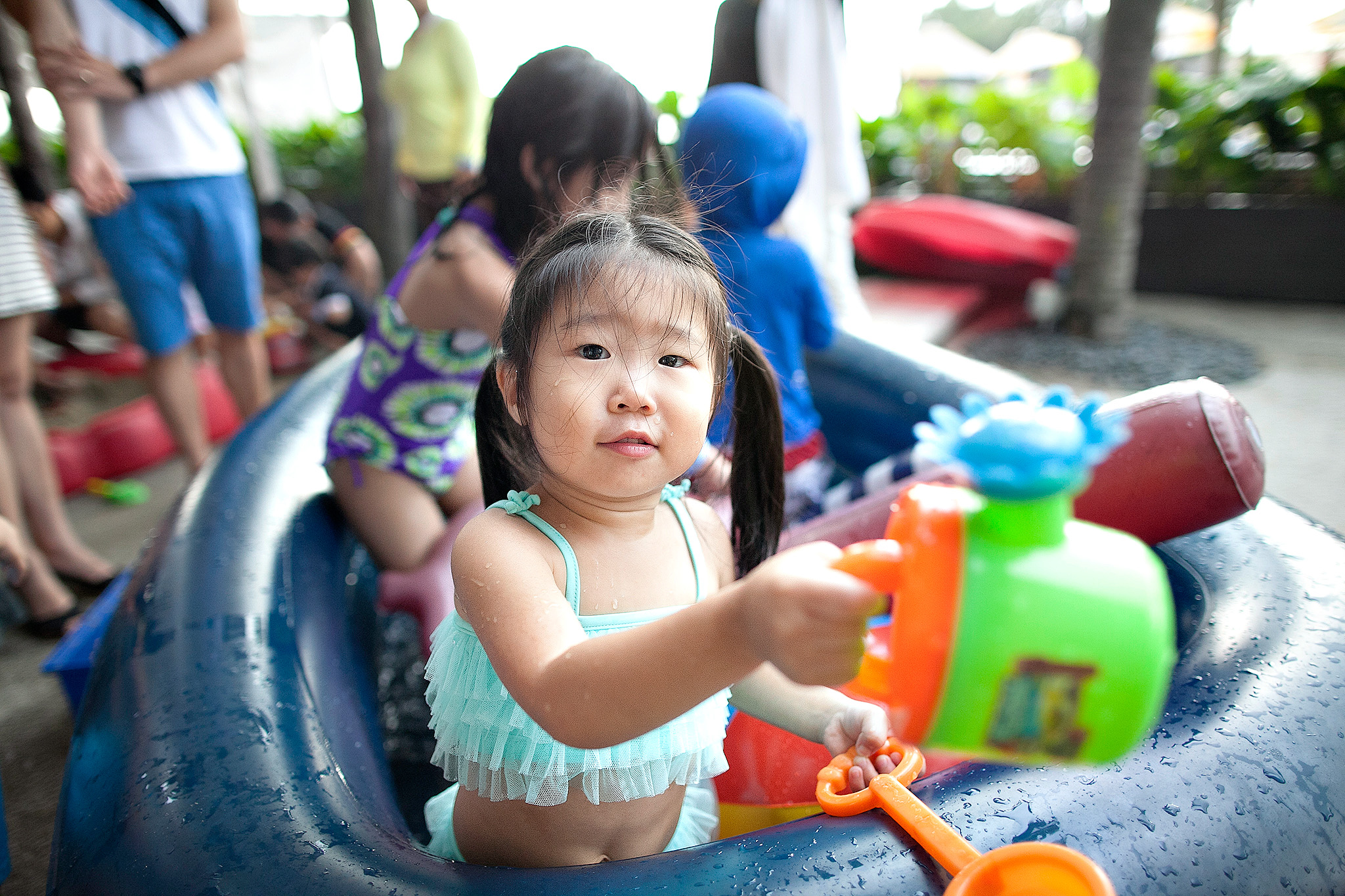 adorable korean girl gyubin swimming in the boat pool