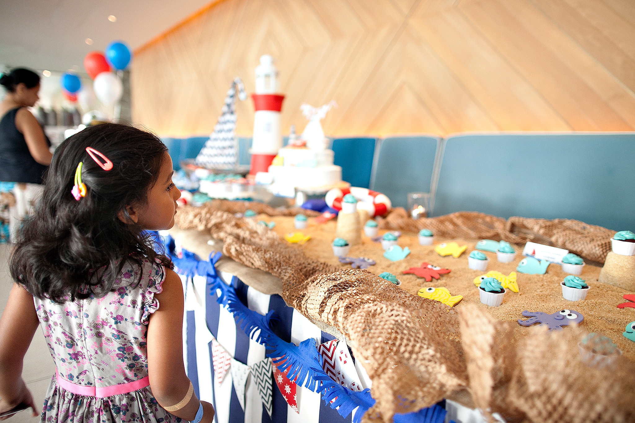 nautical beach party dessert buffet with edible sand beach