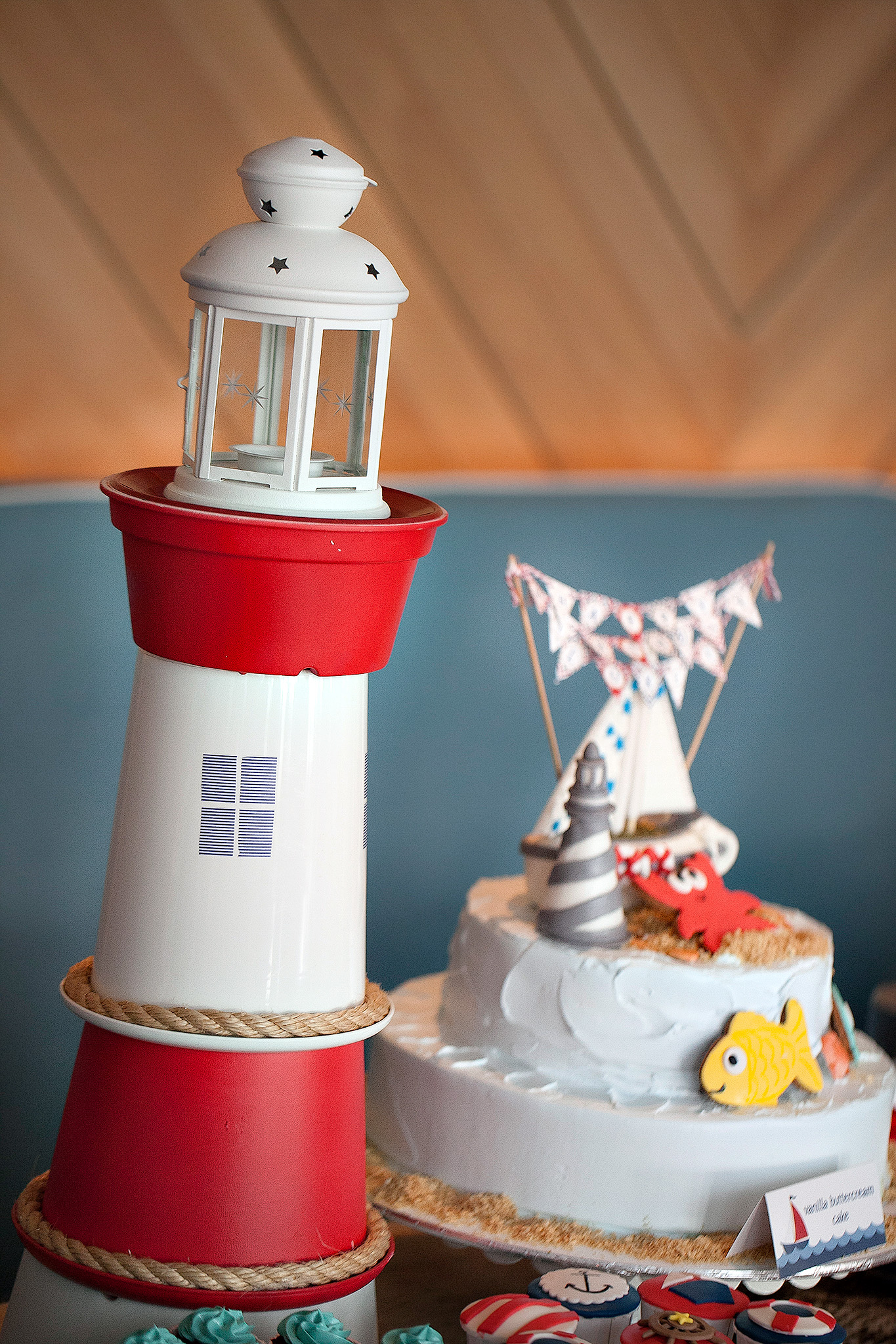 nautical party cake and lighhouse